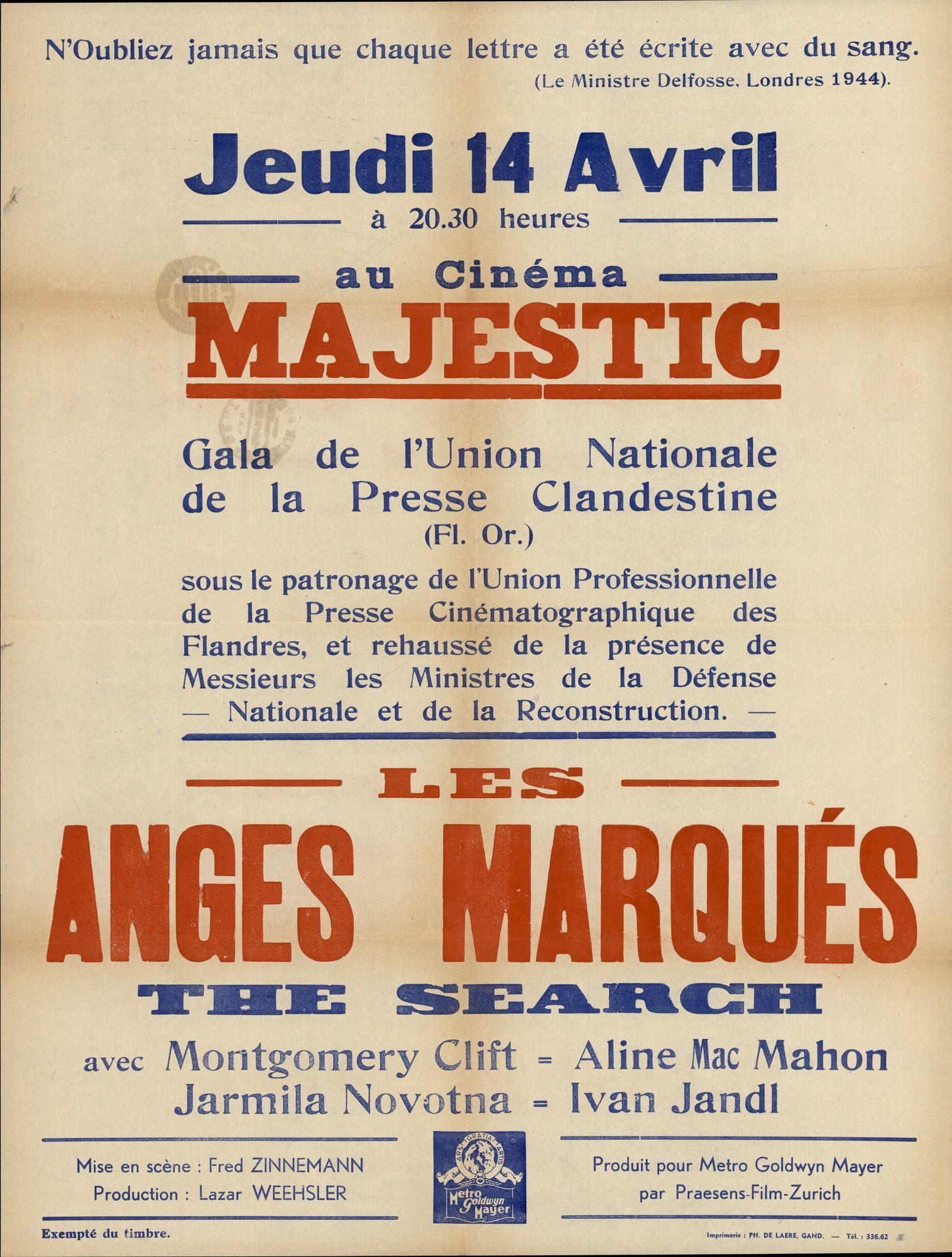 Les Anges Marqués | The Search, Cinema Majestic, Gent, 14 april 1949
