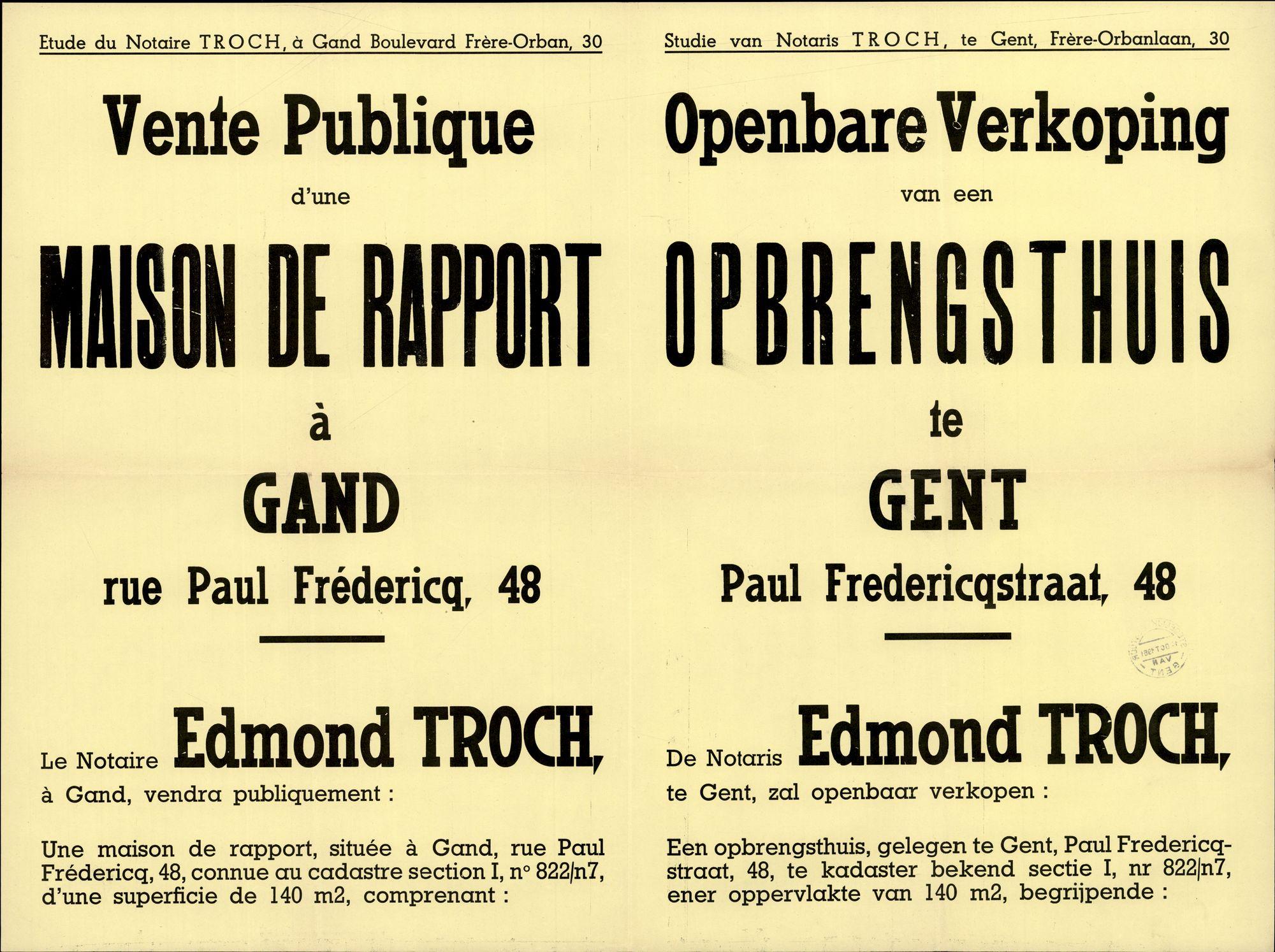 Openbare verkoop van een opbrengsthuis te Gent, Paul Fredericqstraat, nr.48