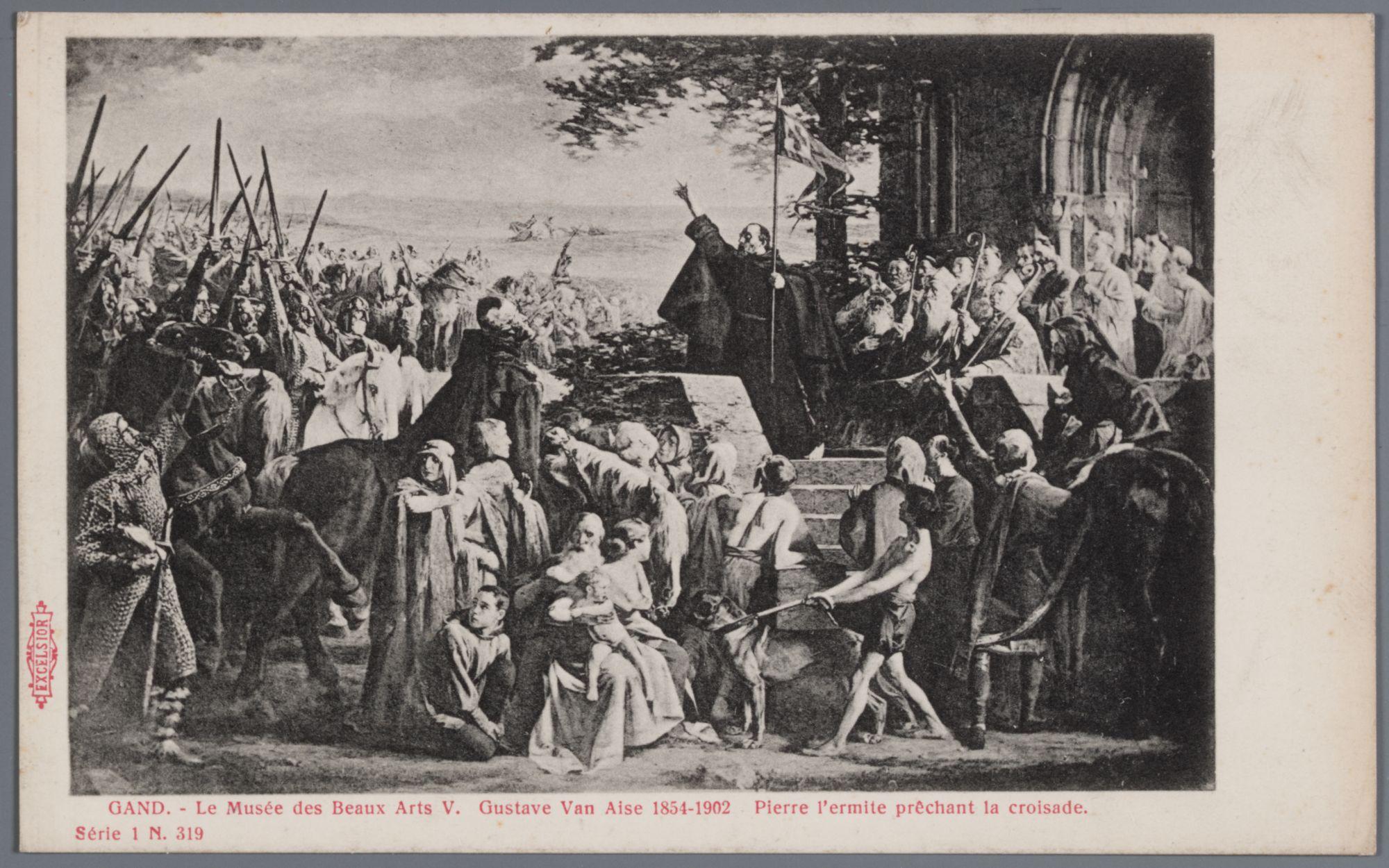 Gent: Museum van Schone Kunsten: schilderij van Gustaaf Van Aise: Peter de Kluizenaar predikt de Kruistocht