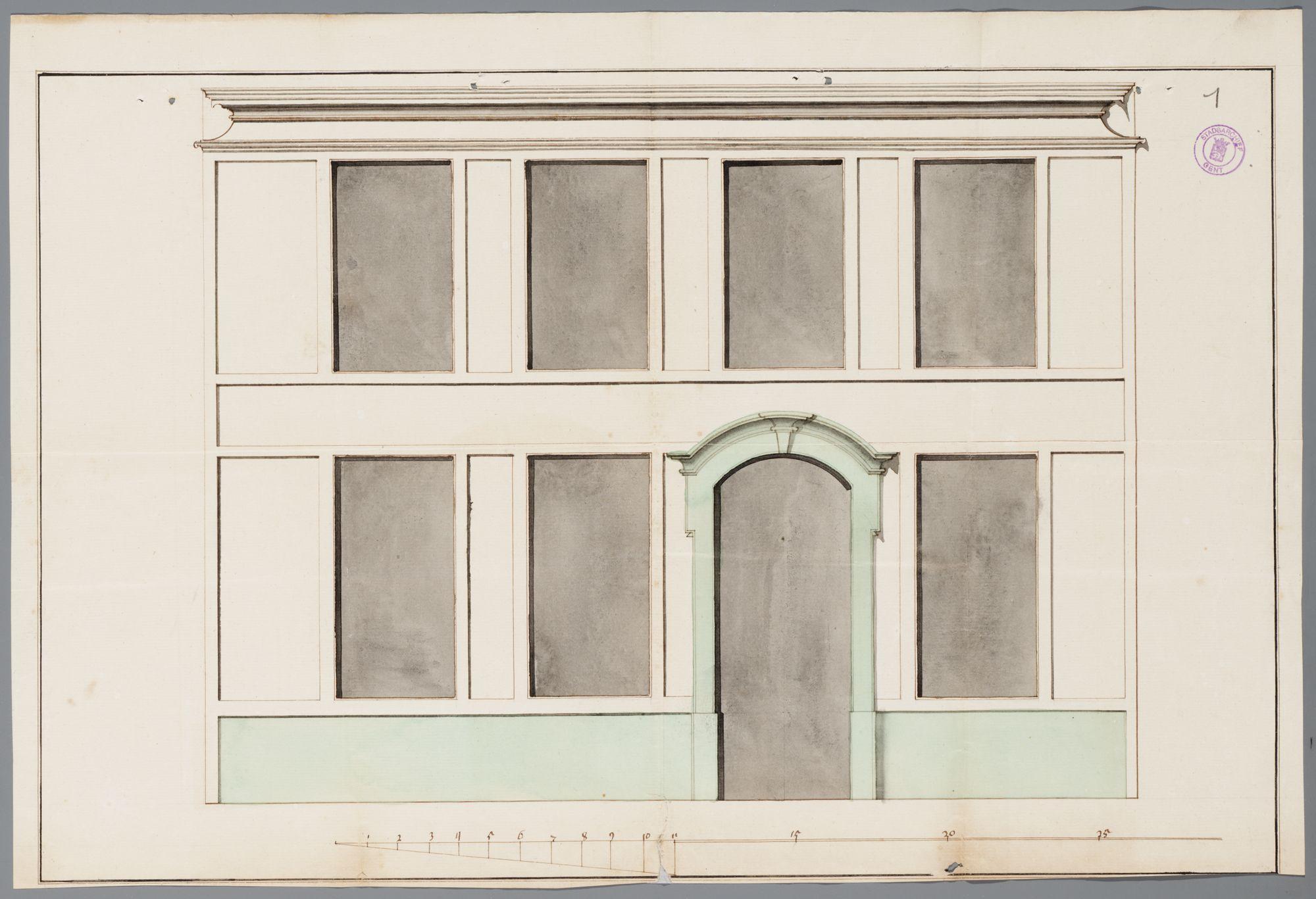 Gent: Recollettenbrug, 1758: opstand gevel