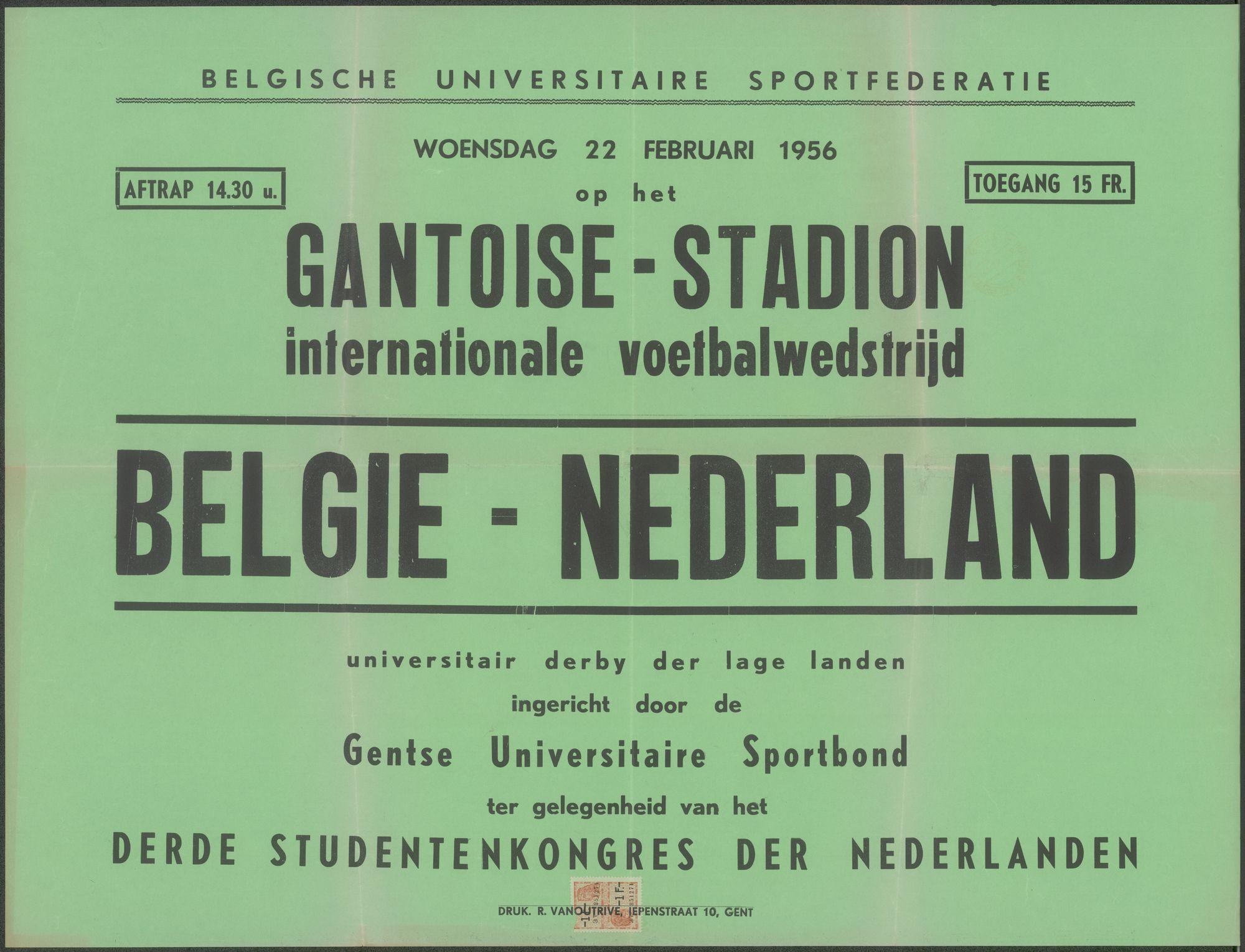 Internationale Voetbalwedstrijd, België - Nederland, Gantoise-Stadion, Gentbrugge, woensdag 22 februari 1956
