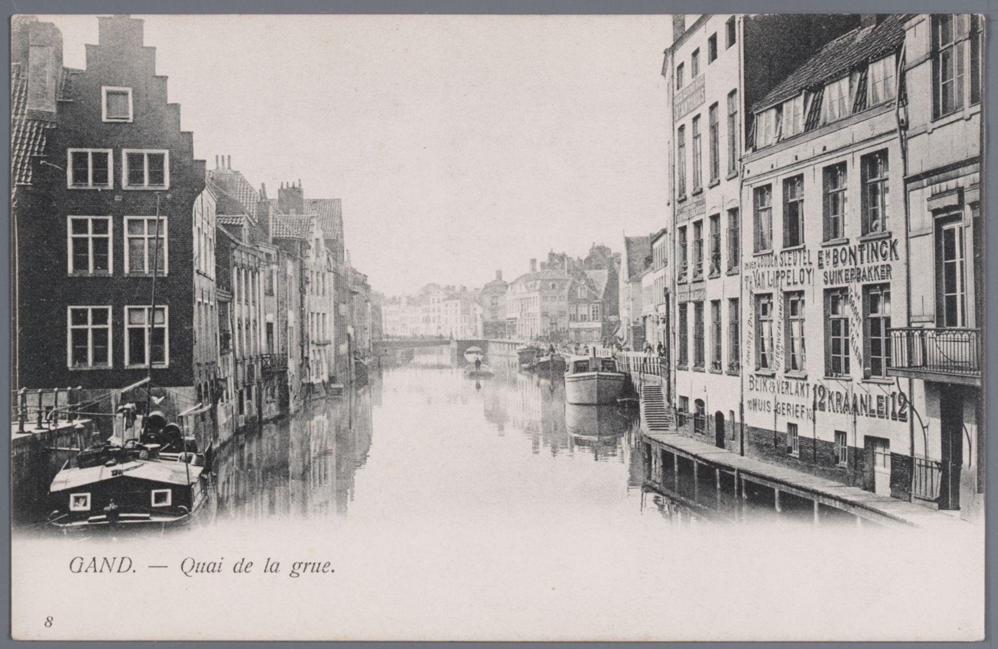 Gent: Kraanlei, gezien van de Zuivelbrug