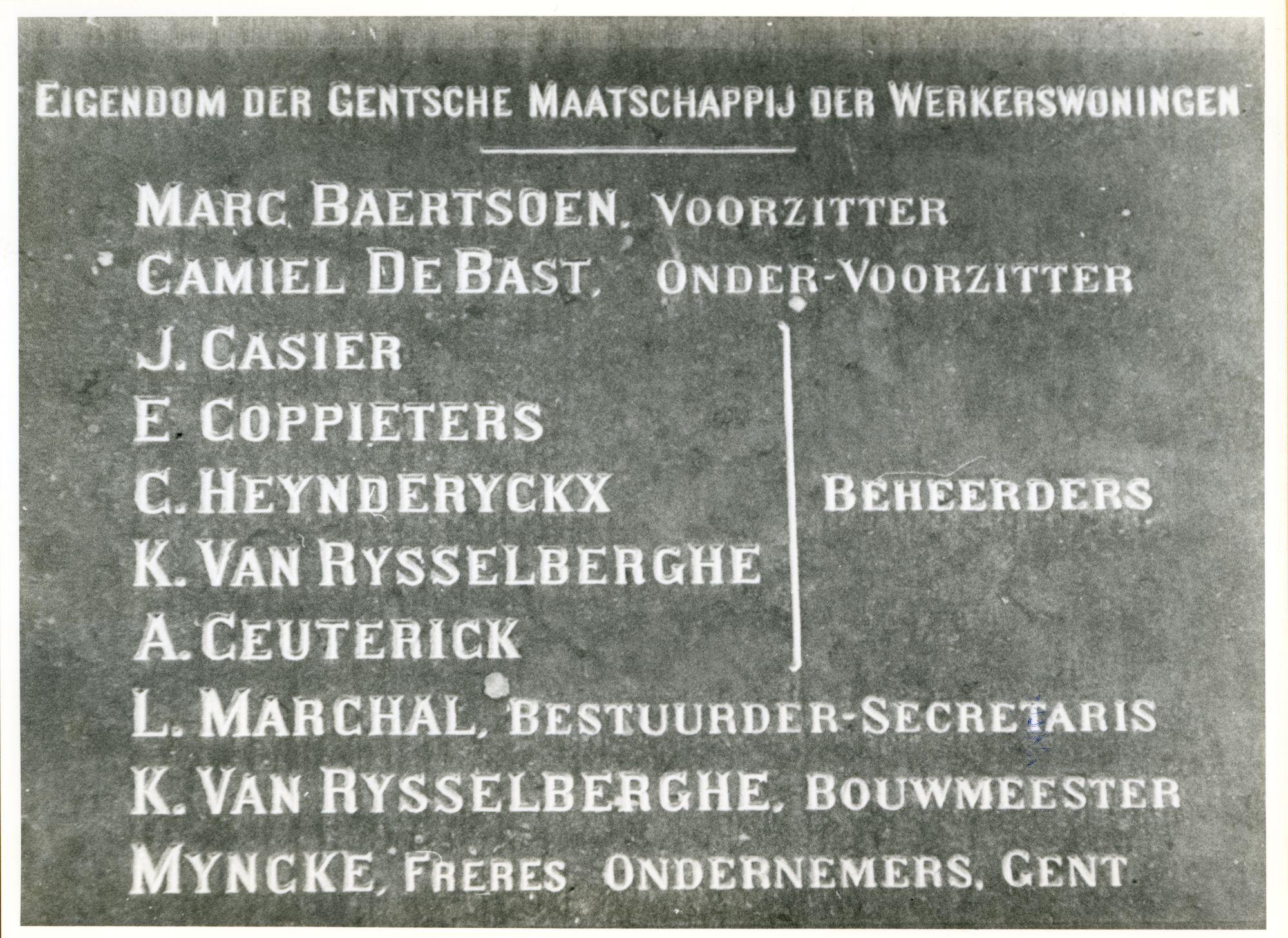 Gent: Zebrastraat: Gedenksteen, 1979