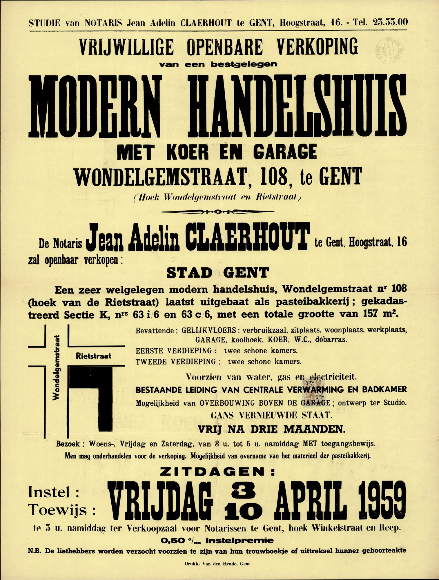 Vrijwillige openbare verkoop van een bestgelegen modern handelshuis met koer en garage, Wondelgemstraat, nr.108, te Gent, 10 april 1959