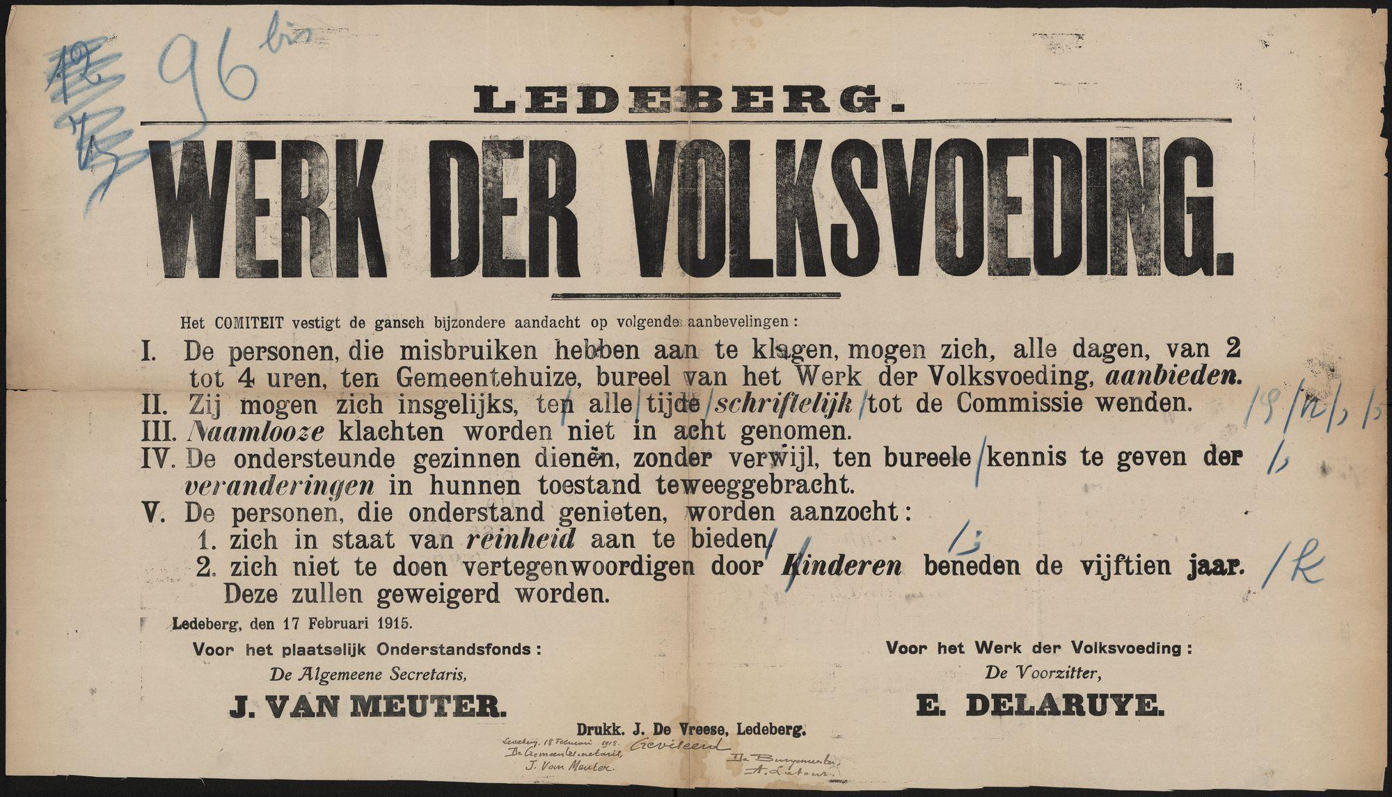 Ledeberg, Werk der volksvoeding.