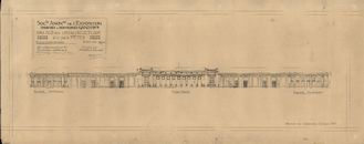 Gent: Citadelpark: bouwplan van het Feestpaleis (Palais de l'Horticulture et des Fêtes) - Plan D - gevels van de serres (Façades des Serres), 1913