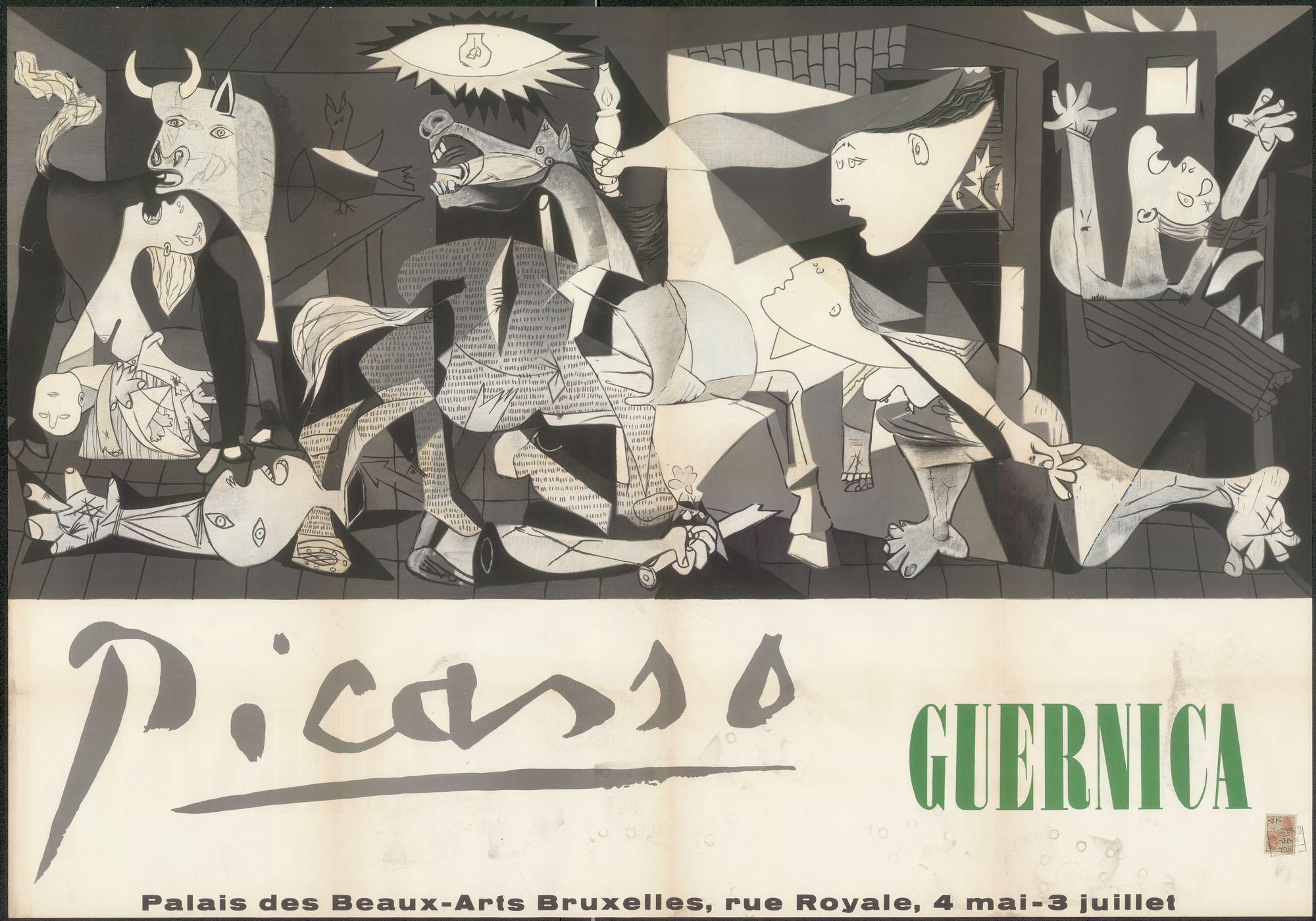 Tentoonstelling Picasso Guernica, Palais des Beaux-Arts (Paleis voor Schone Kunsten), Brussel, 4 mei - 3 juli 1956