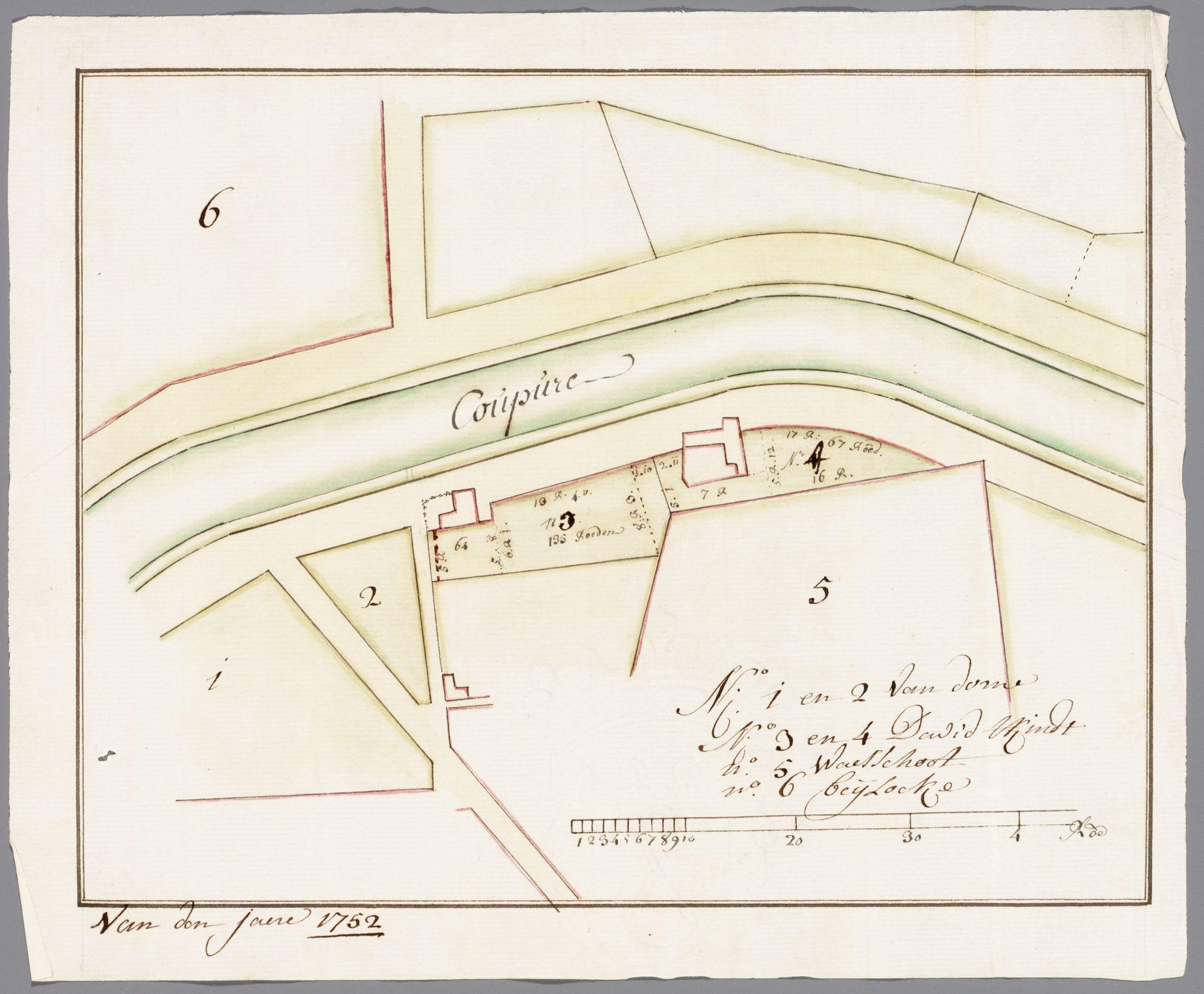 Gent: Iepenstraat, 1758: kaart met plattegrond