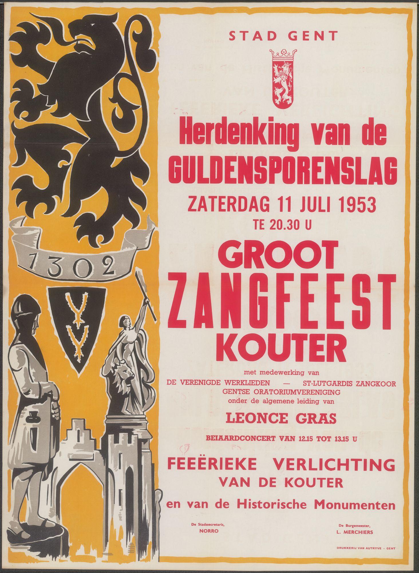 Herdenking van de Guldensporenslag, Groot Zangfeest, Kouter, Gent, 11 juli 1953