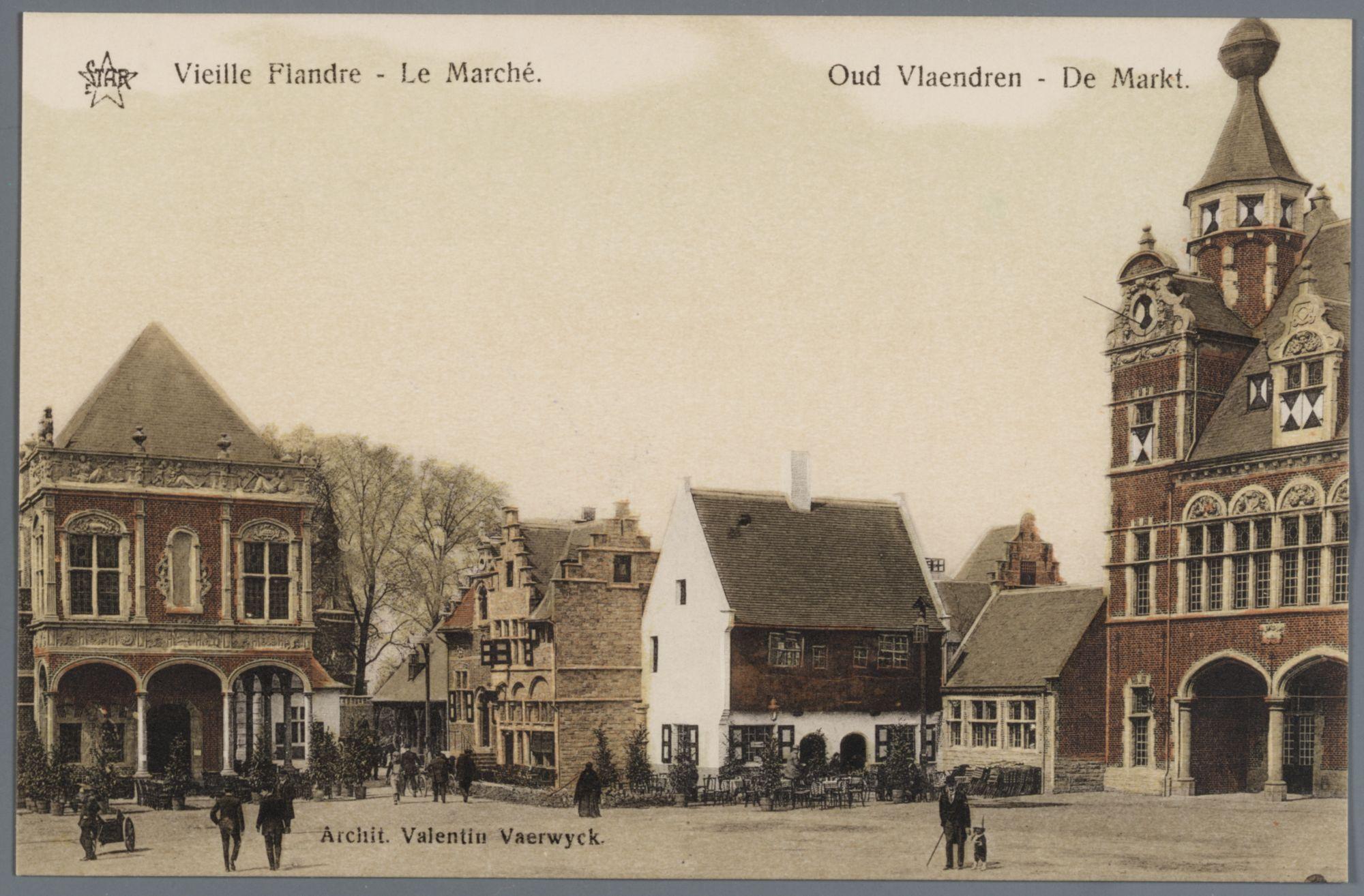 Gent: Wereldtentoonstelling 1913: Oud Vlaanderen: de Markt