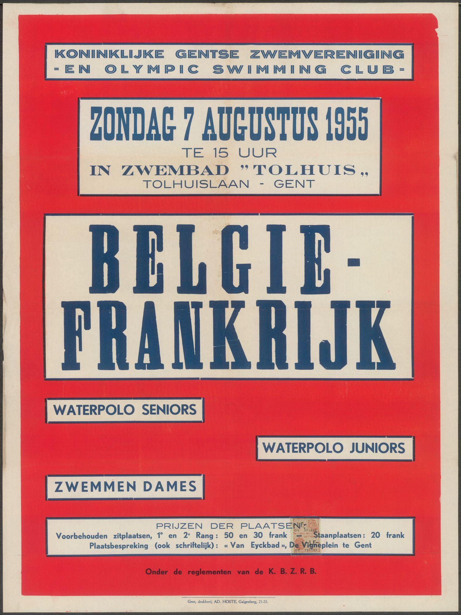 België - Frankrijk, Waterpolo seniors, waterpolo juniors, zwemmen dames, Koninklijke Gentse Zwemvereniging en Olympic Swimming Club, zondag 7 augustus 1955 te 15 uur in zwembad Tolhuis, Gent