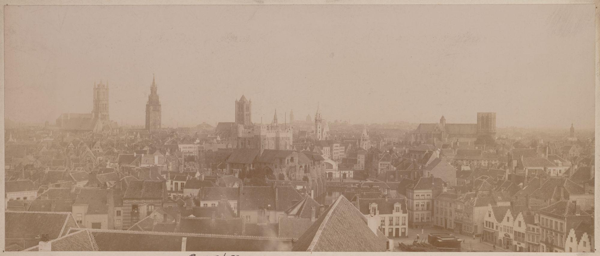 Gent: panoramisch gezicht op de binnenstad vanaf de uitkijktoren van de brandweerkazerne, 1906