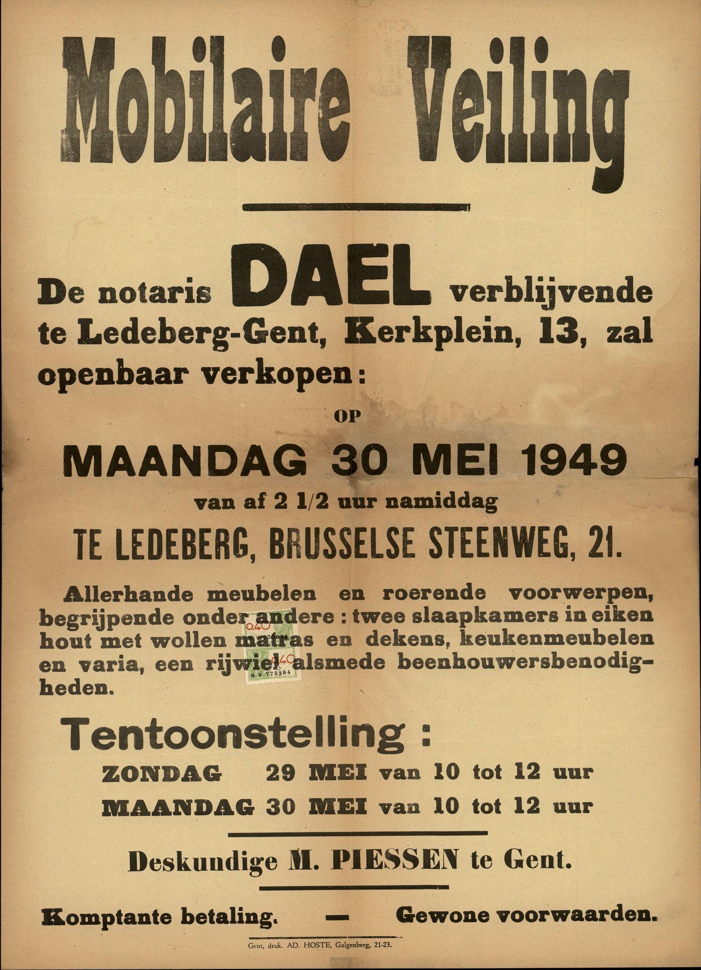 Mobilaire veiling te Ledeberg, Brusselse Steenweg, nr.21, (Brusselsesteenweg), 30 mei 1949