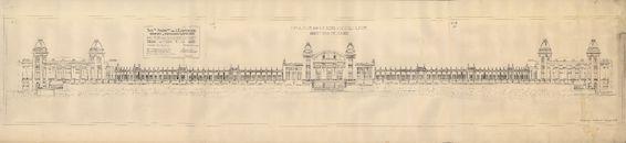 Gent: Citadelpark: bouwplan van het Feestpaleis (Palais de l'Horticulture et des Fêtes) - Plan A - hoofdgevel (Façade Principale), 1913