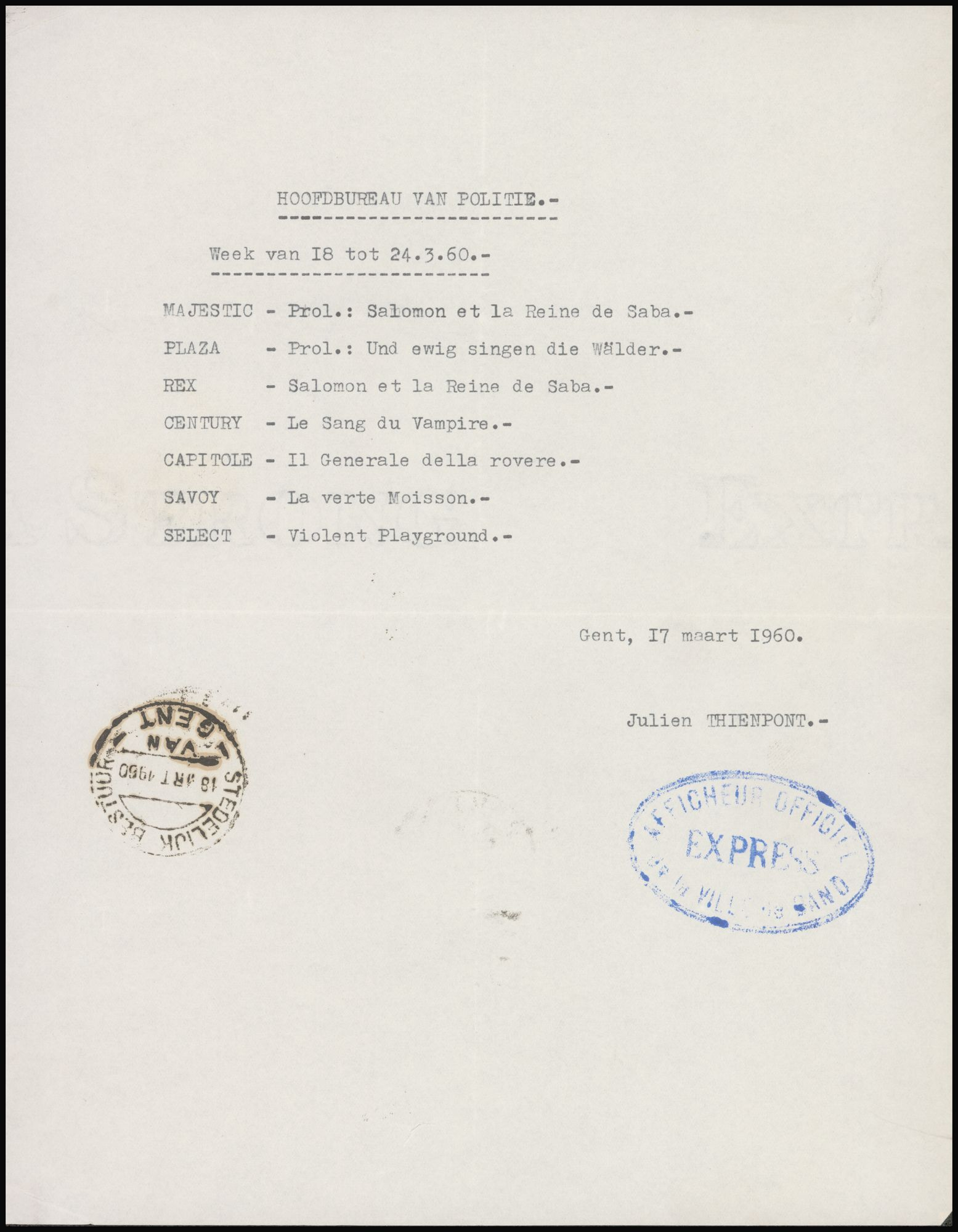 Lijst van filmaffiches afgegeven aan het hoofdbureau van politie, Gent, week van 18 tot 24 maart 1960