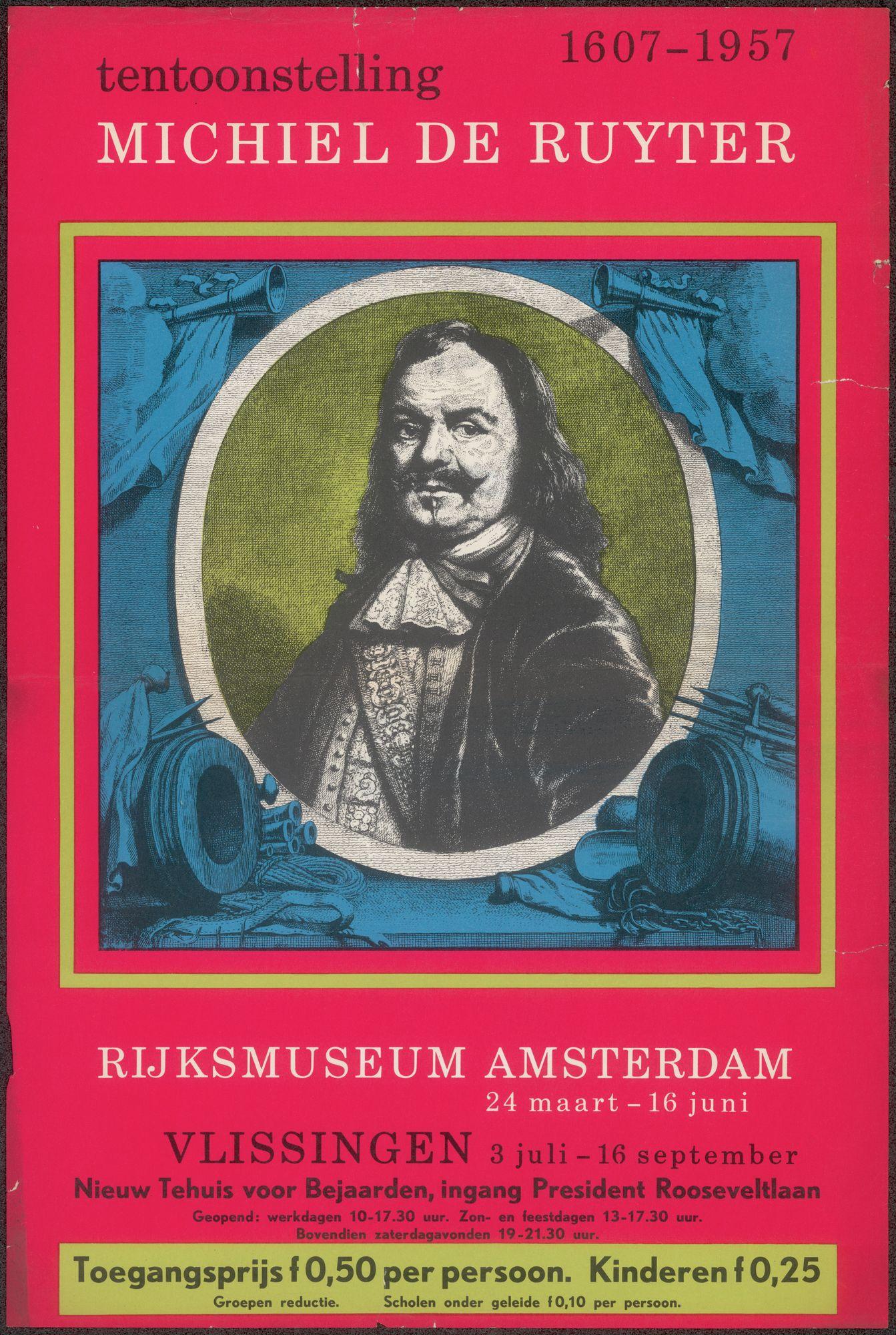 Tentoonstelling Michiel De Ruyter 1607-1957, Rijksmuseum Amsterdam,Nieuw Tehuis voor Bejaarden  Vlissingen, 3 juli - 16 september 1957