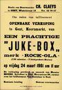 """Openbare verkoop te Gent, Koornmarkt (Korenmarkt), van een prachtige """"Juke-Box"""", 24 maart 1961"""