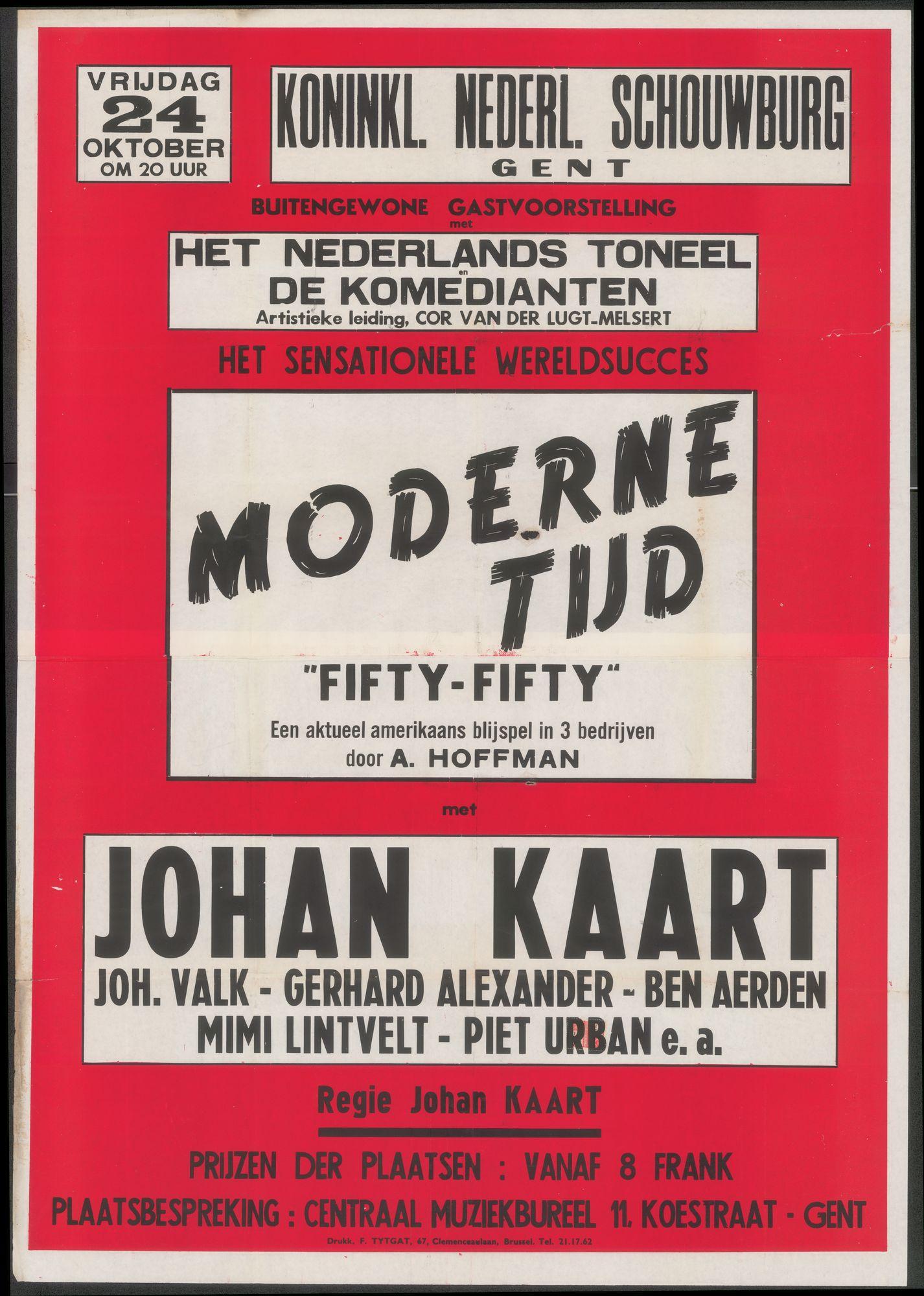 """Moderne tijd """"Fifty-Fofty, Koninklijke Nederlandse Schouwburg, Gent, 24 oktober 1947"""