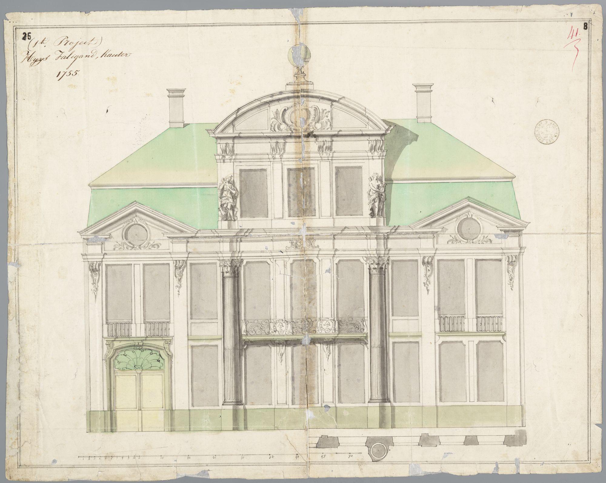 Gent: Kouter, 1755: hotel Falligan: opstand gevel