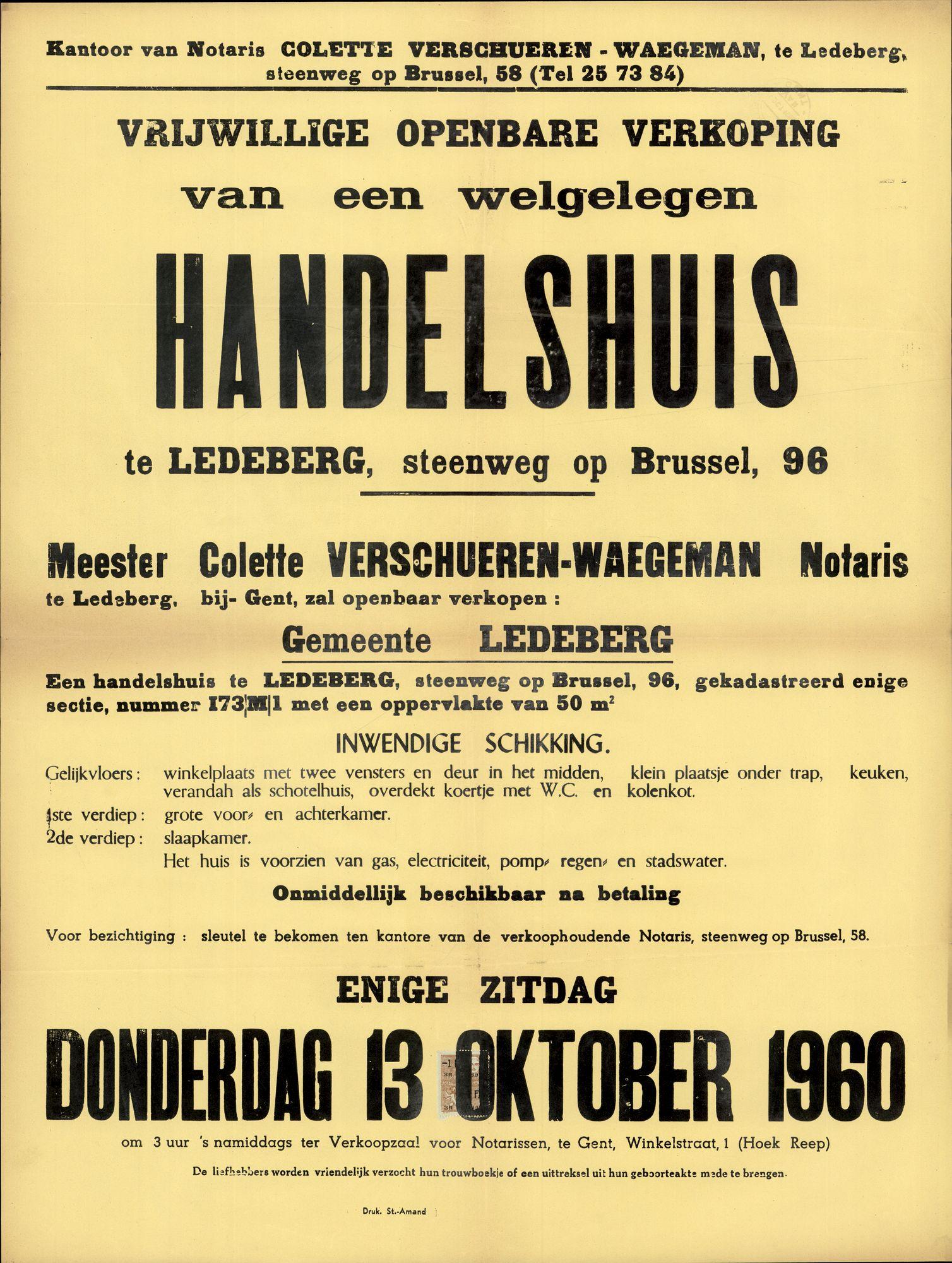 Vrijwillige openbare verkoop van een welgelegen handelshuis te Ledeberg, steenweg op Brussel, nr.96 (Brusselsesteenweg), Gent, 13 oktober 1960
