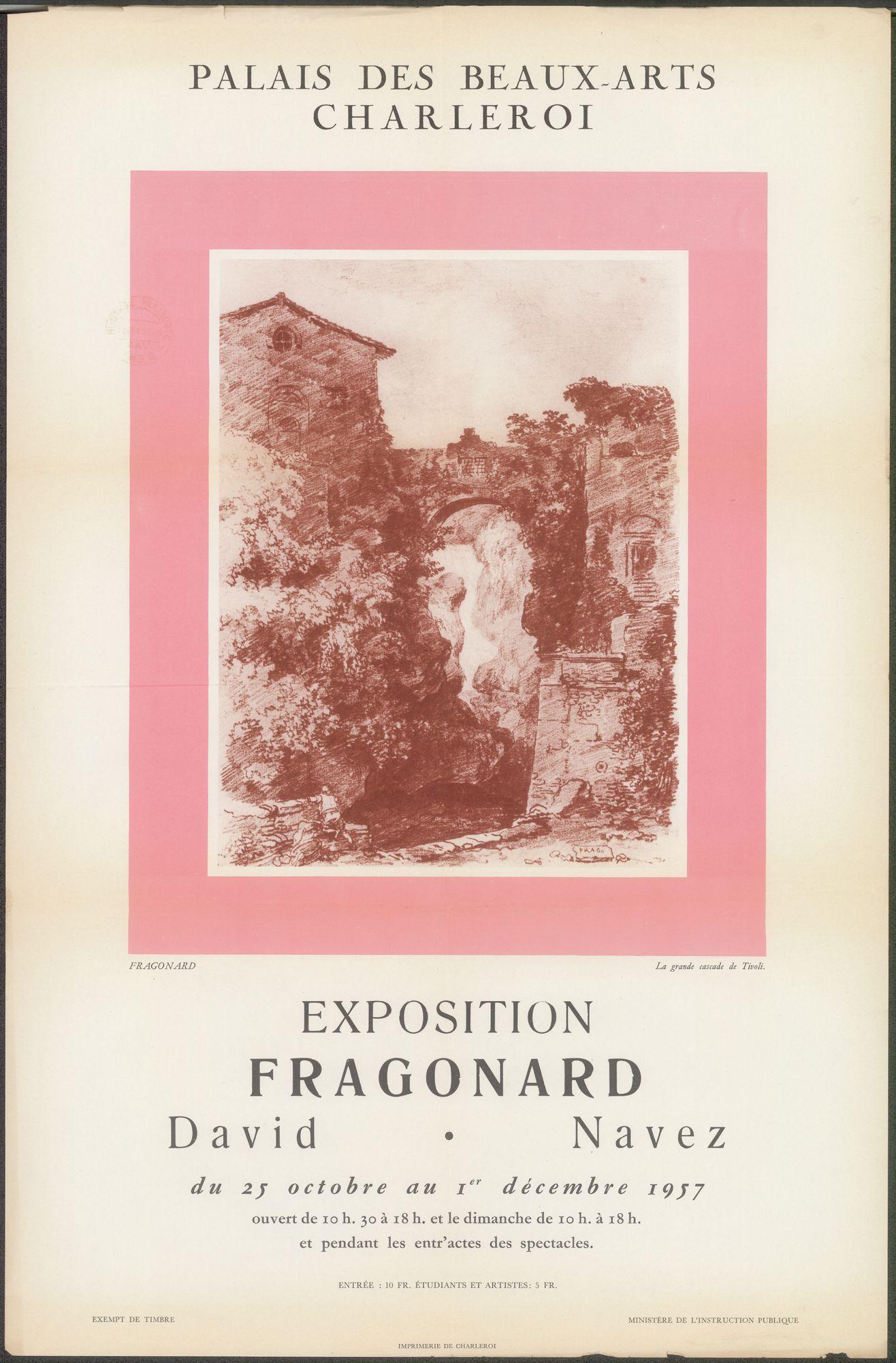 Exposition Fragonard, David, Navez, Ministère de l'Instruction Publique, Palais des Beaux-Arts, Charleroi, 25 oktober - 1 december 1957
