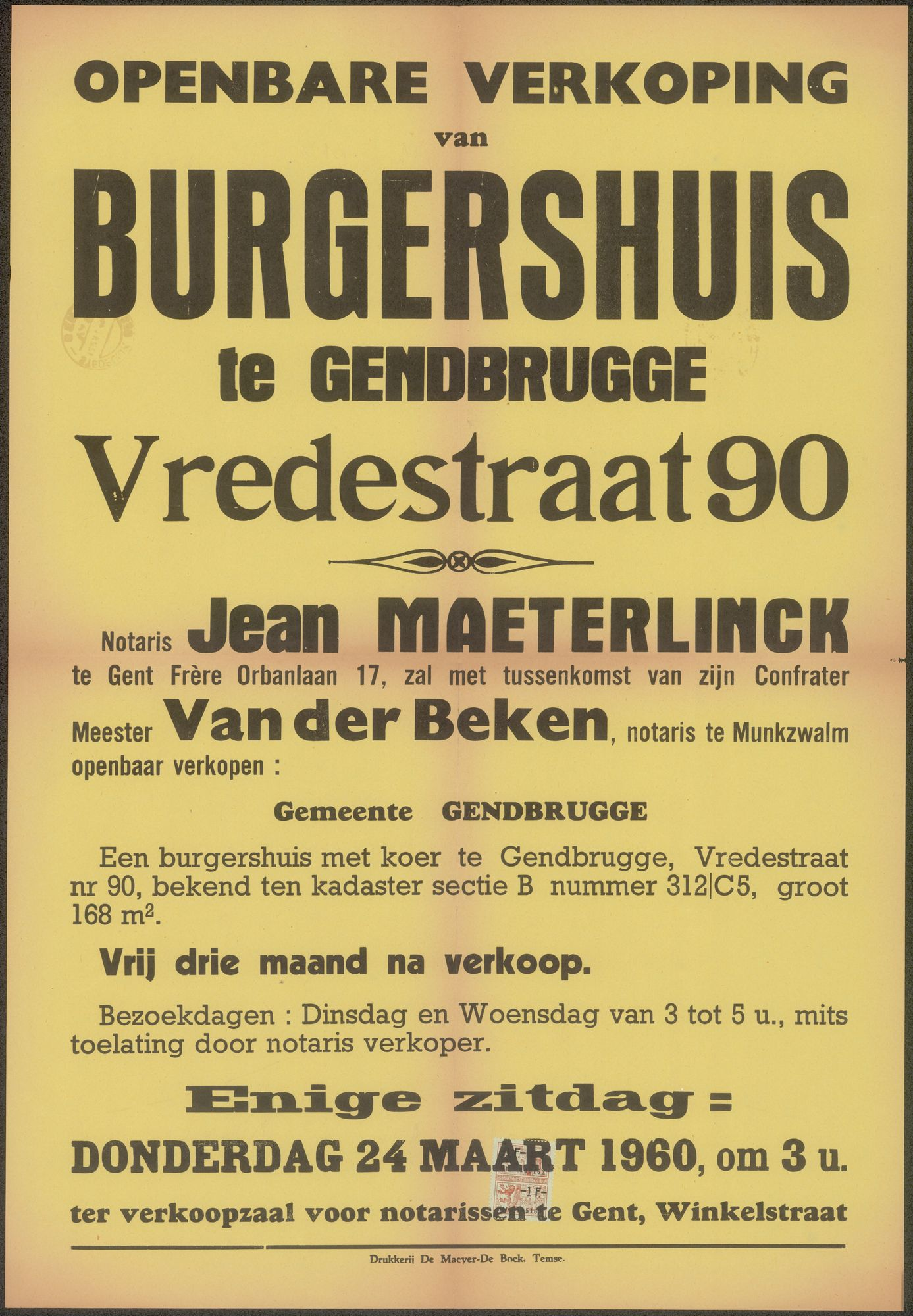 Openbare verkoop van burgershuis te Gendbrugge (Gentbrugge), Vredestraat, nr. 90, Gent, 24 maart 1960