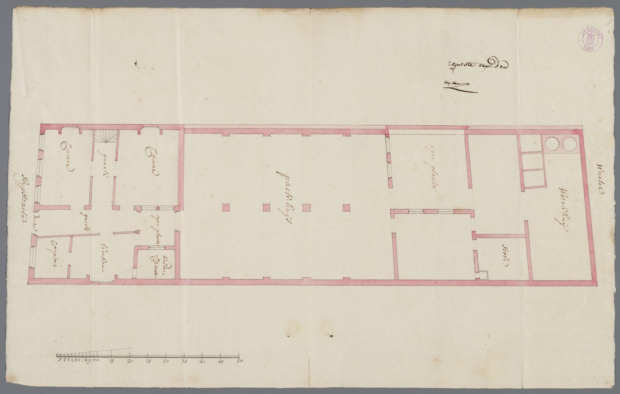 Gent: Sleepstraat, 1767: plattegrond