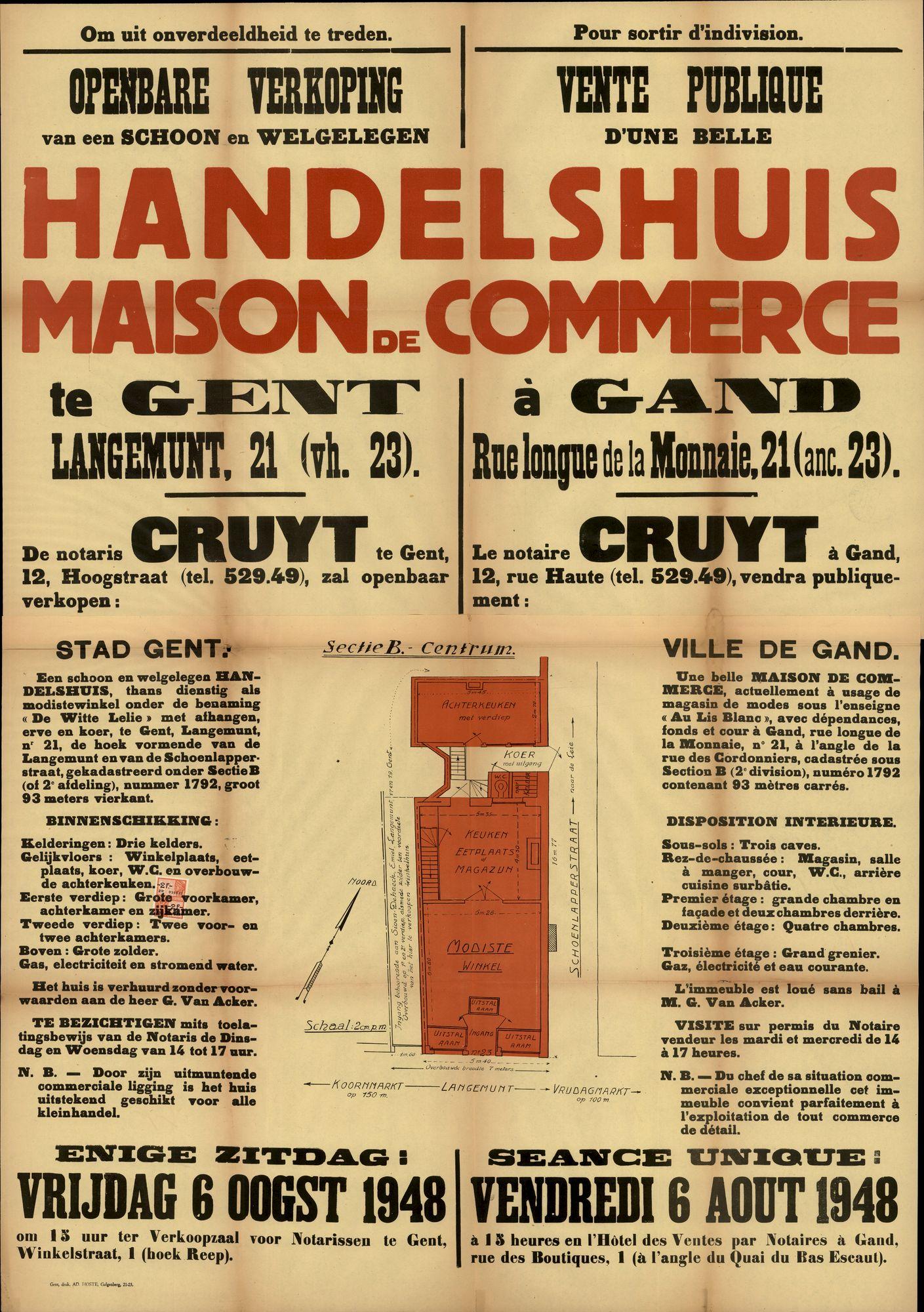 Openbare verkoop van een schoon en welgelegen handelshuis te Gent, Langemunt, nr.21 (vh. 23), Gent, 6 augustus 1948