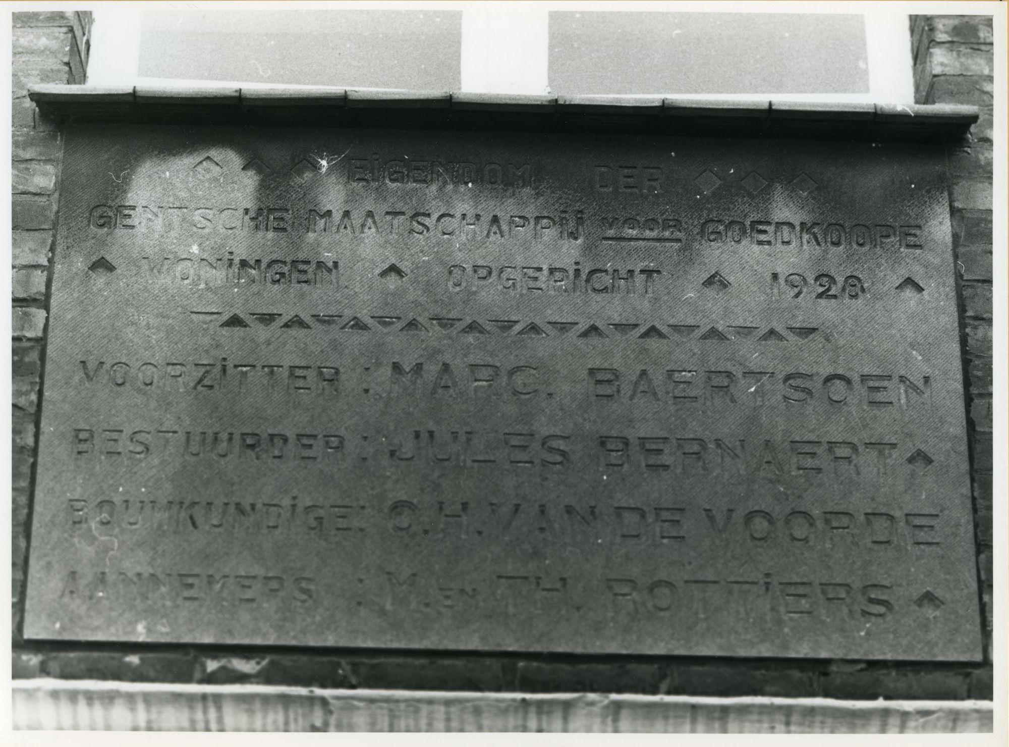 Gent: Zonnebloemstraat: Gedenksteen, 1979