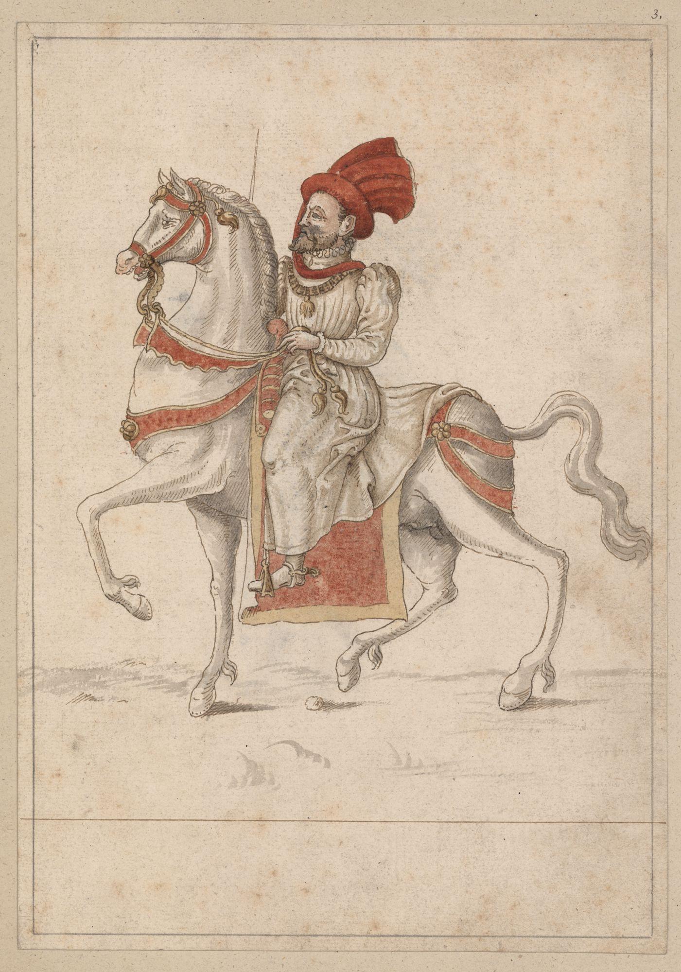 Filips II, koning van Spanje, te paard, als grootmeester van het Gulden Vlies, gekleed in scharlaken rood, op de eerste dag van het kapittel te Gent in 1559