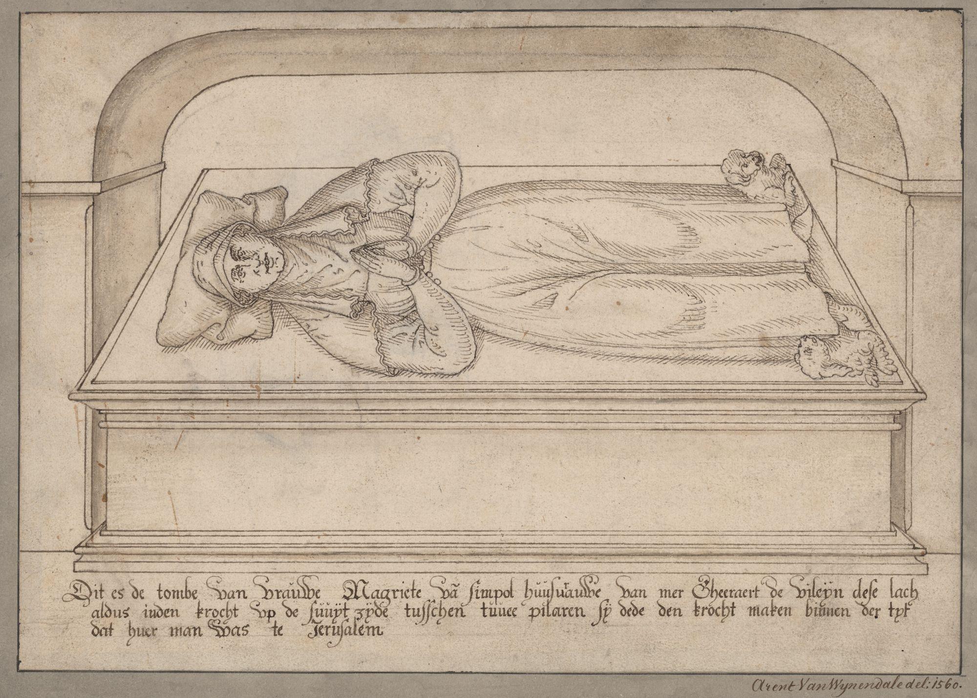 Gent: Sint-Baafsplein: Sint-Baafskathedraal: crypte: grafmonument van Margriet van Saint-Pol (+ voor 1254), echtgenote van Geraard van Gent, bijgenaamd de Duivel, voor 1569