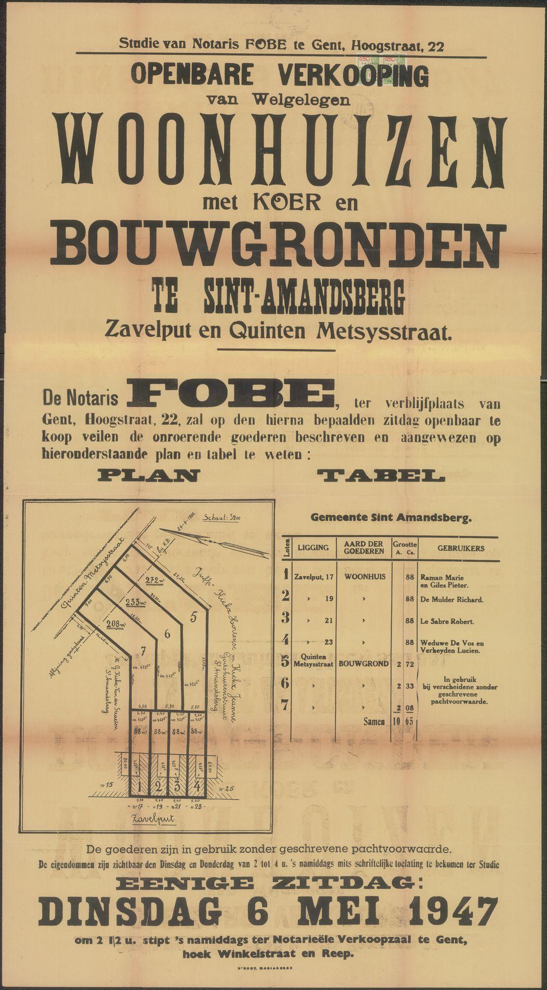 Openbare verkoop van welgelegen woonhuis met koer en bouwgronden te Sint-Amandsberg, Zavelput en Quinten Metsysstraat (Metsijsstraat), Gent, 6 mei 1947