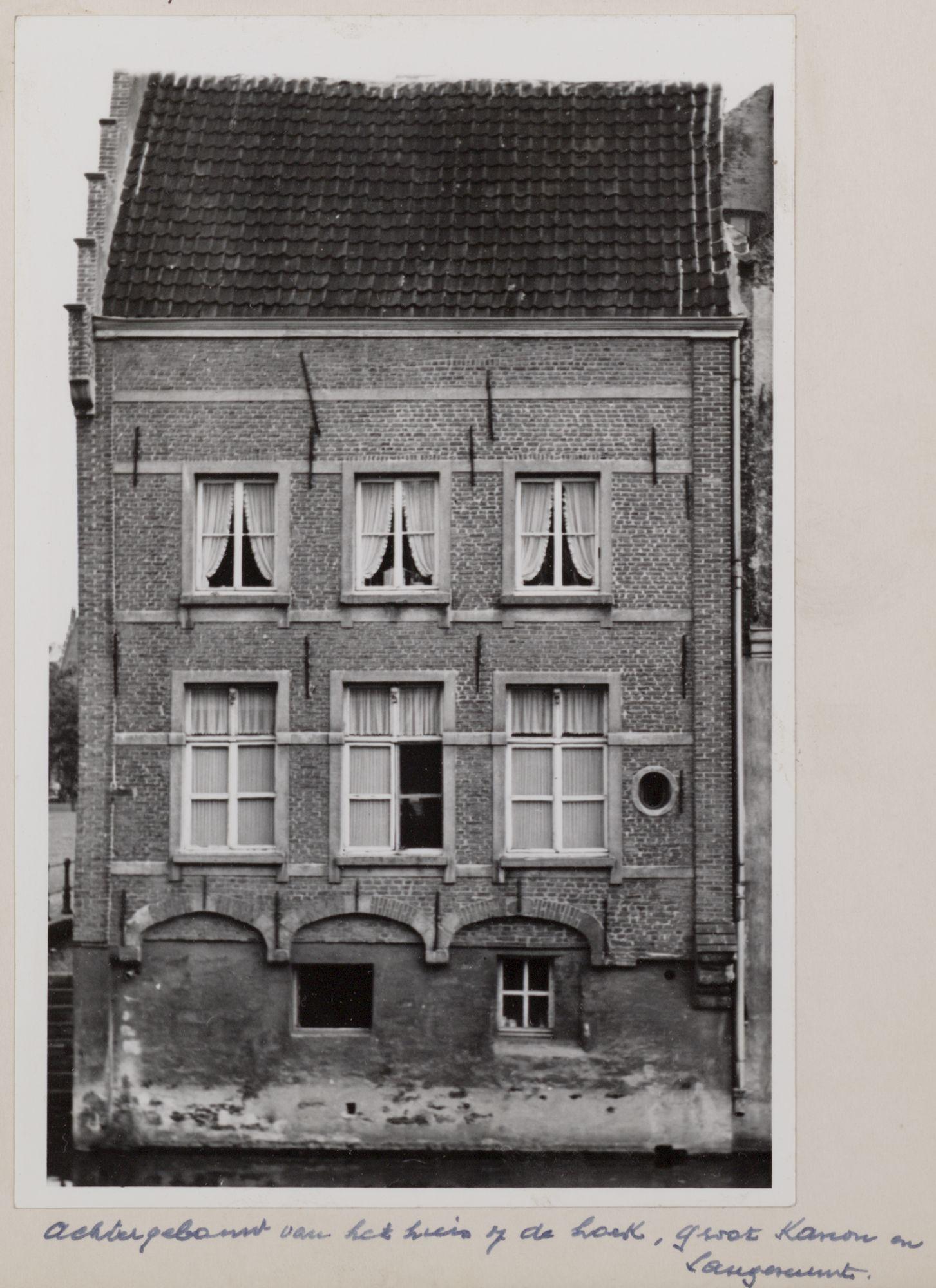 Gent: Leie en achtergevel van een huis op de hoek van het Grootkanonplein en de Langemunt