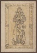 Gent: Jacobijnenstraat: Dominicanenkerk (nu verdwenen): grafplaat van Jan genaamd Busere van Bassevelde (+1326)