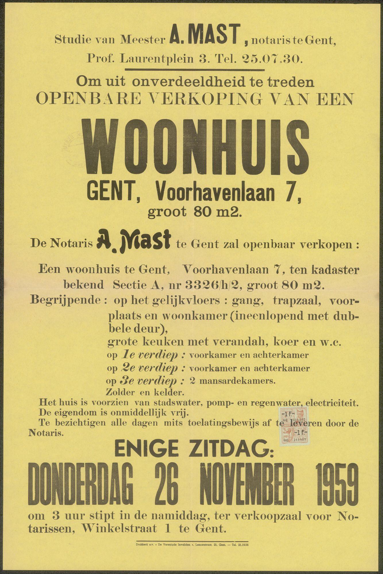 Openbare verkoop van een woonhuis te Gent, Voorhavenlaan, nr.7, Gent, 26 november 1959