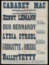 Cabaret Mac stelt voor vanaf vrijdag 4 oktober: Ballet Yetty: Henny Lemann (Weensche zangzegster), Duo Bernardy (Beroemde kabaretzangers), Lydia Strobl (Welgekende weensche zangeres), Georgette & Rogers (Fantasiedansers), Kuiperskaai, Gent, [1940]