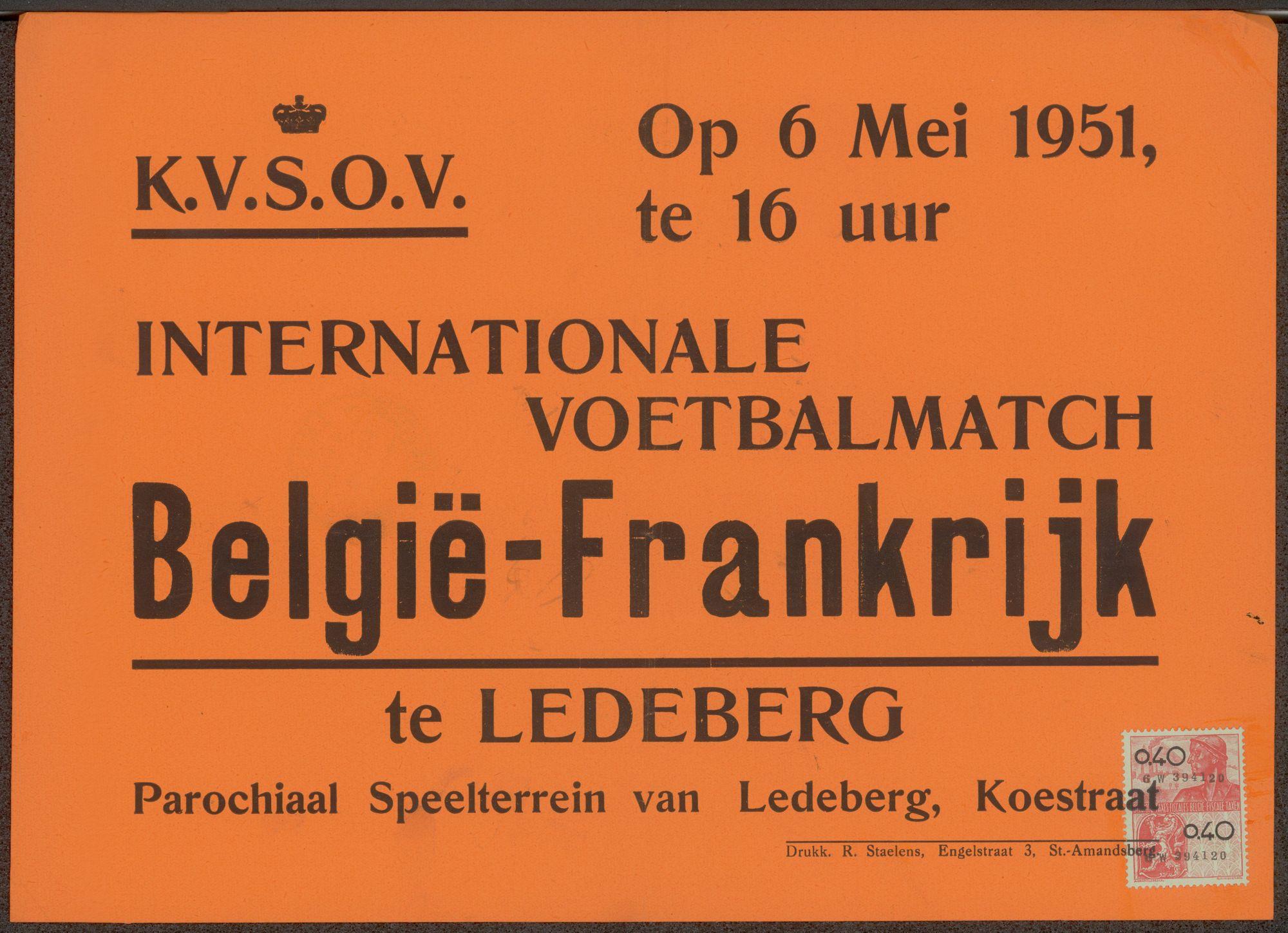 Internationale Voetbalmatch België - Frankrijk, te Ledeberg, Parochiaal Speelterrein van Ledeberg, Koestraat, op 6 Mei 1951