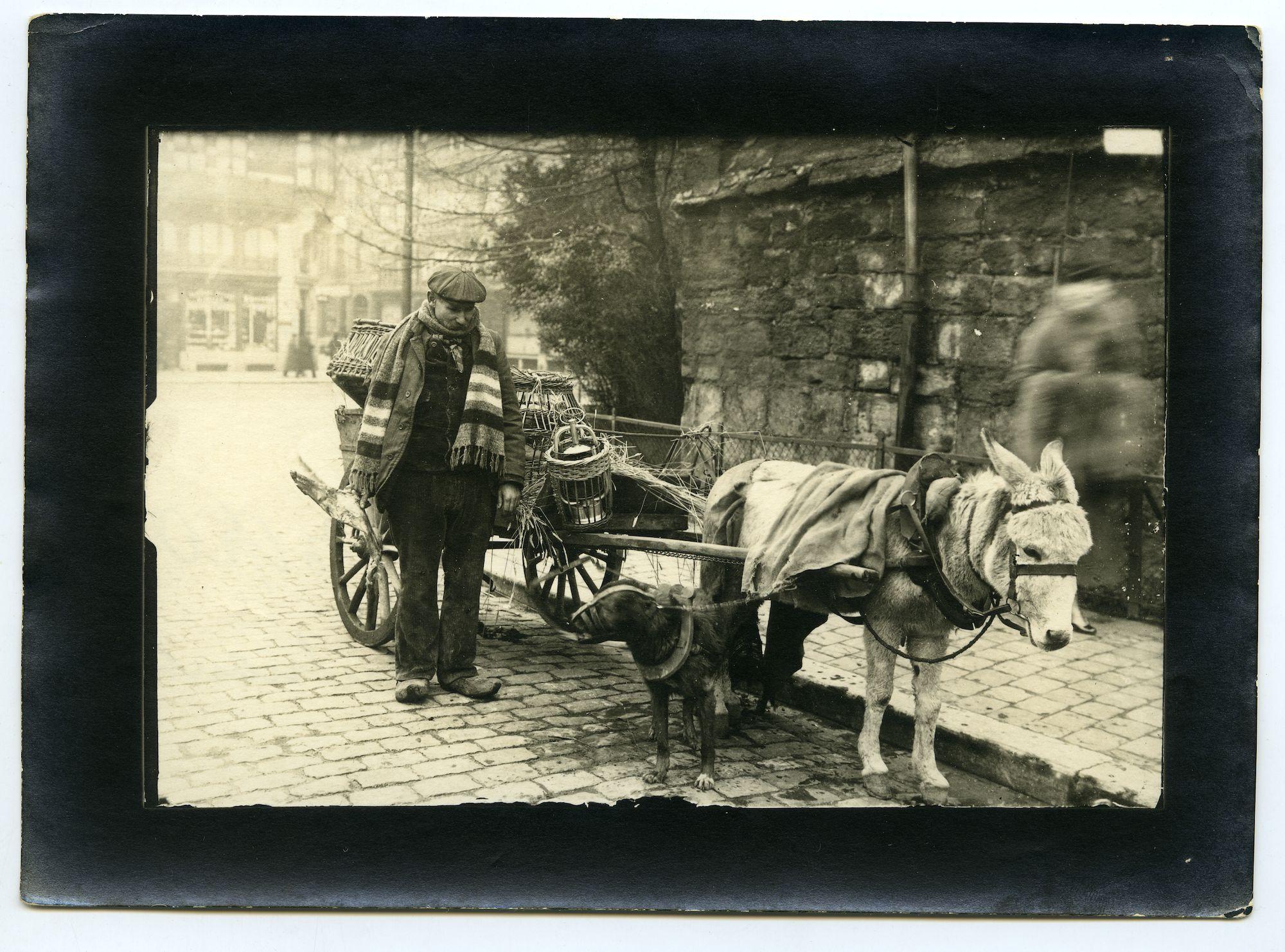 Gent: Goudenleeuwplein - Emile Braunplein: poelier met ezelkar en hond, 1915-1916