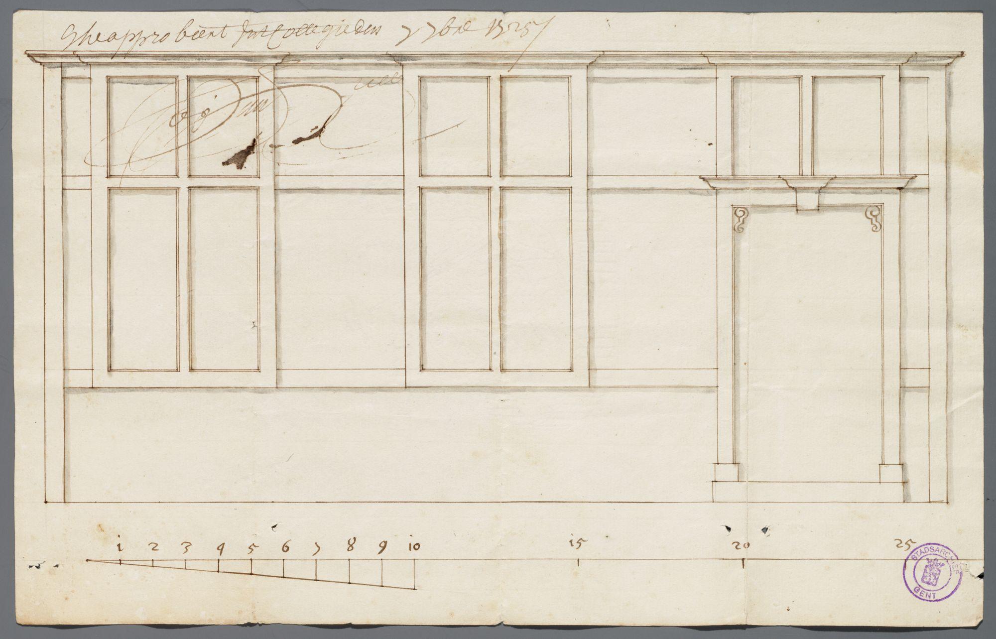 Gent: Plotersgracht, 1725: opstand gevel