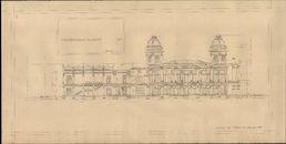 Gent: Citadelpark: bouwplan van het Feestpaleis (Palais de l'Horticulture et des Fêtes) - Plan G - doorsnede van het restaurant (Coupe Restaurant suivant E-F), 1913