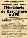 Vente publique volontaire définitive de l'Hostellerie de Baschamps à Aye, Charleroi, 15 juillet 1949