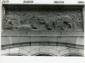 Gent: Belfortstraat 2: reliëf: Welvarend Vlaanderen onder Artevelde, 1979