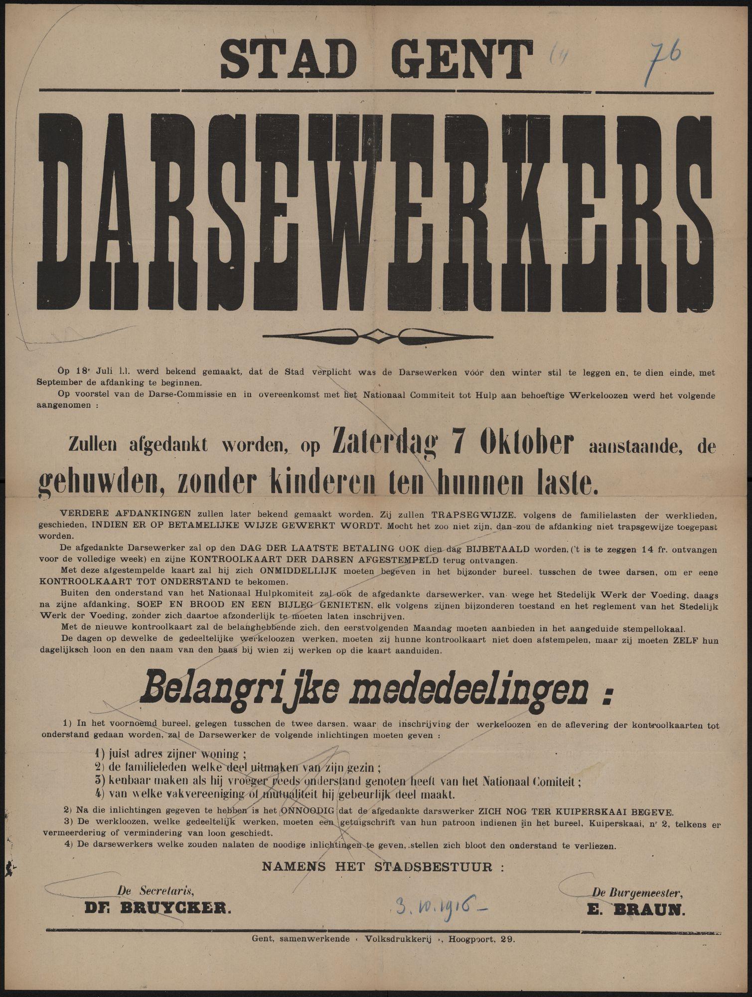 Stad Gent, Darsewerkers.