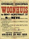 Openbare verkoop van een woonhuis te Gent, Hopstraat, nr.37, Gent, 29 mei 1959