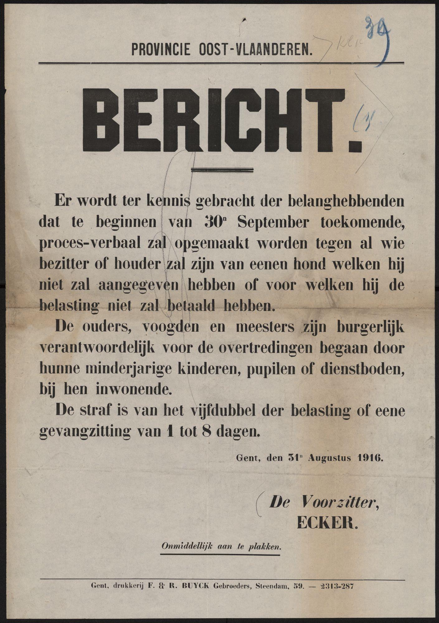Provincie Oost-Vlaanderen, Bericht.