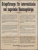 Kriegsfürsorge für österreichische und ungarische Staatsangehörige.