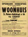 Openbare verkoop van den naakten eigendom van een woonhuis, Sint-Pieters-Aalststraat nr.114 te Gent, 28 april 1959
