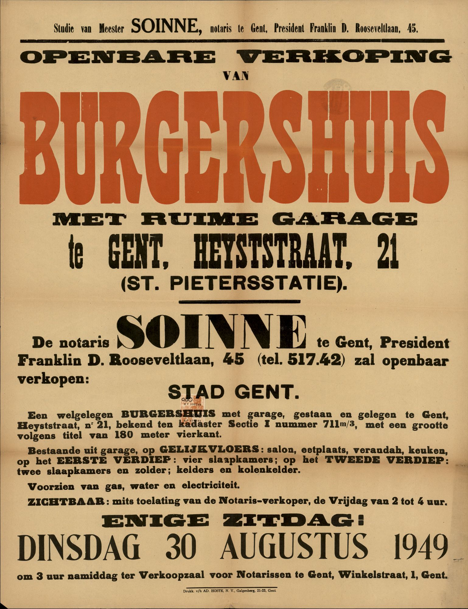 Openbare verkoop van burgershuis met ruime garage te Gent, Heyststraat, nr.21 (Heistraat) Gent, 30 augustus 1949