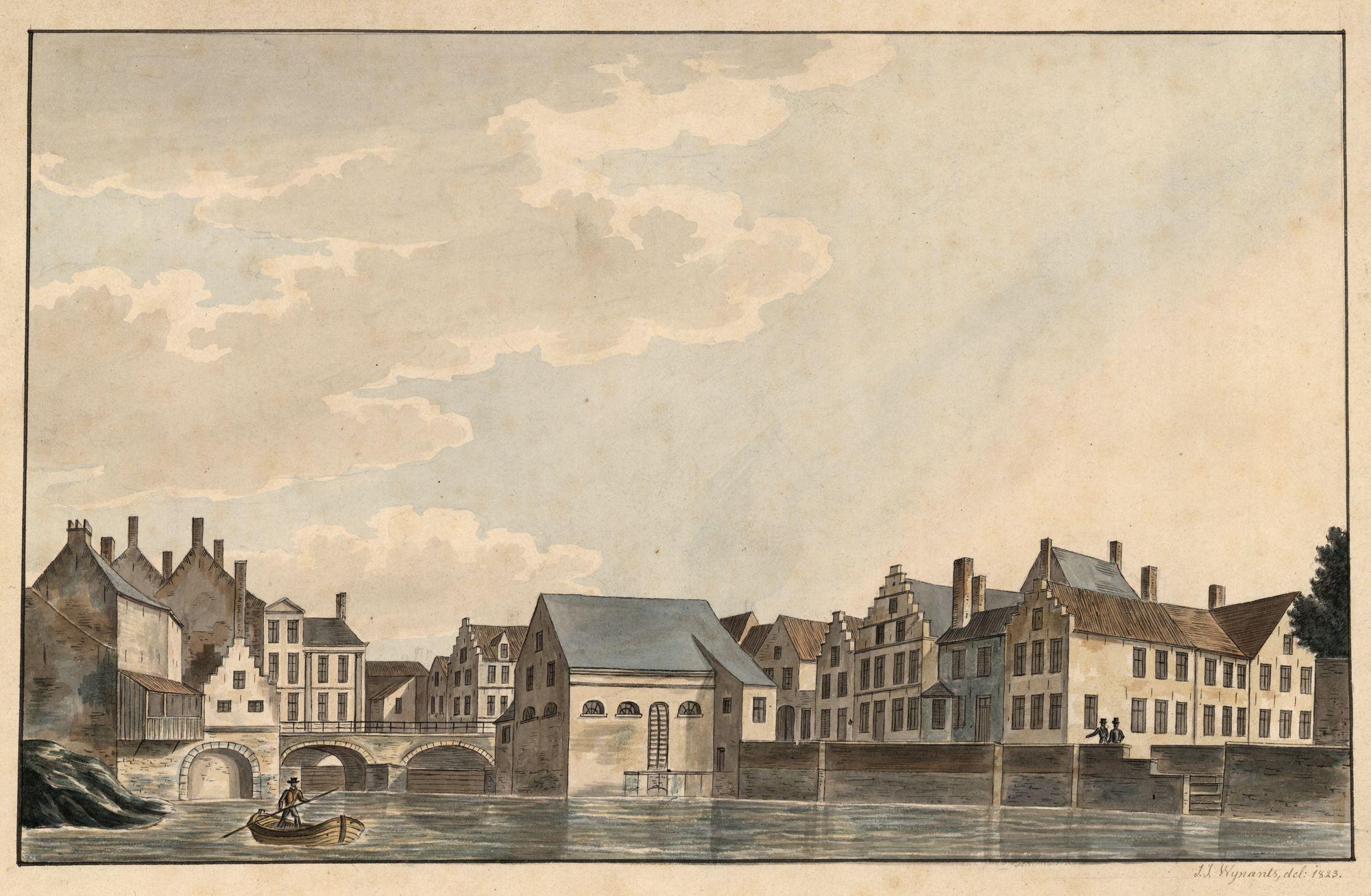 Gent: Braampoort en watermolen aan de Schelde (Braamgaten)