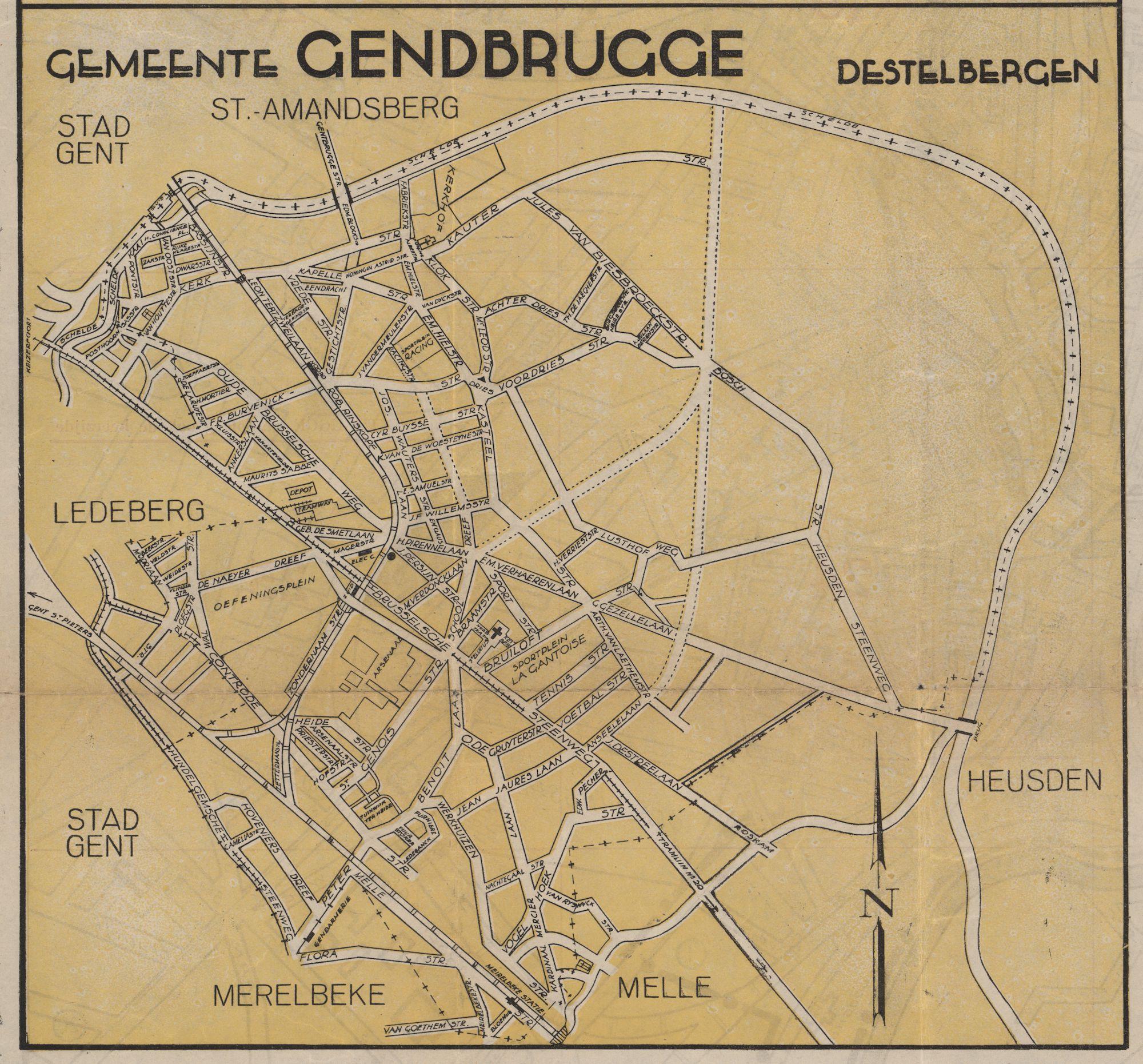 Kaart van de gemeente Gentbrugge, c.1950